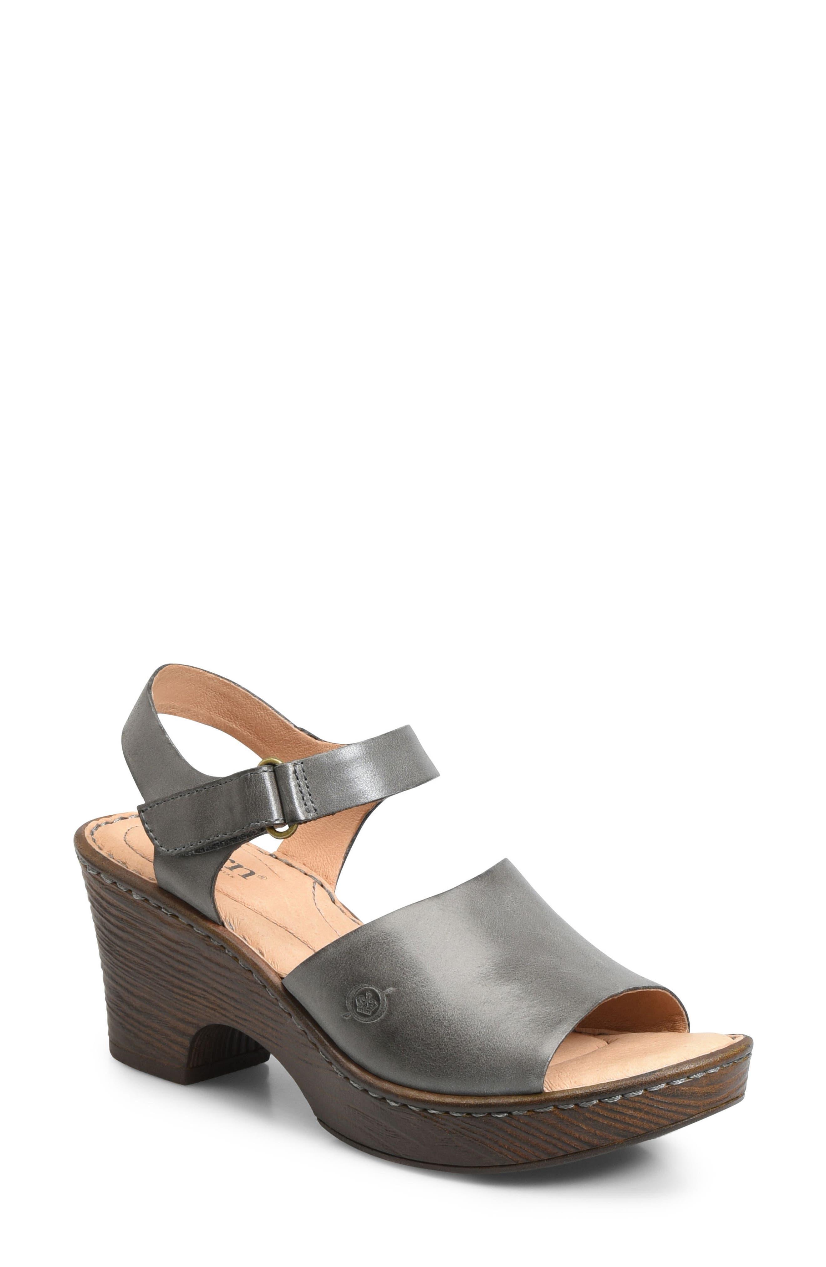 Canna Platform Sandal,                             Main thumbnail 1, color,                             Grey Leather