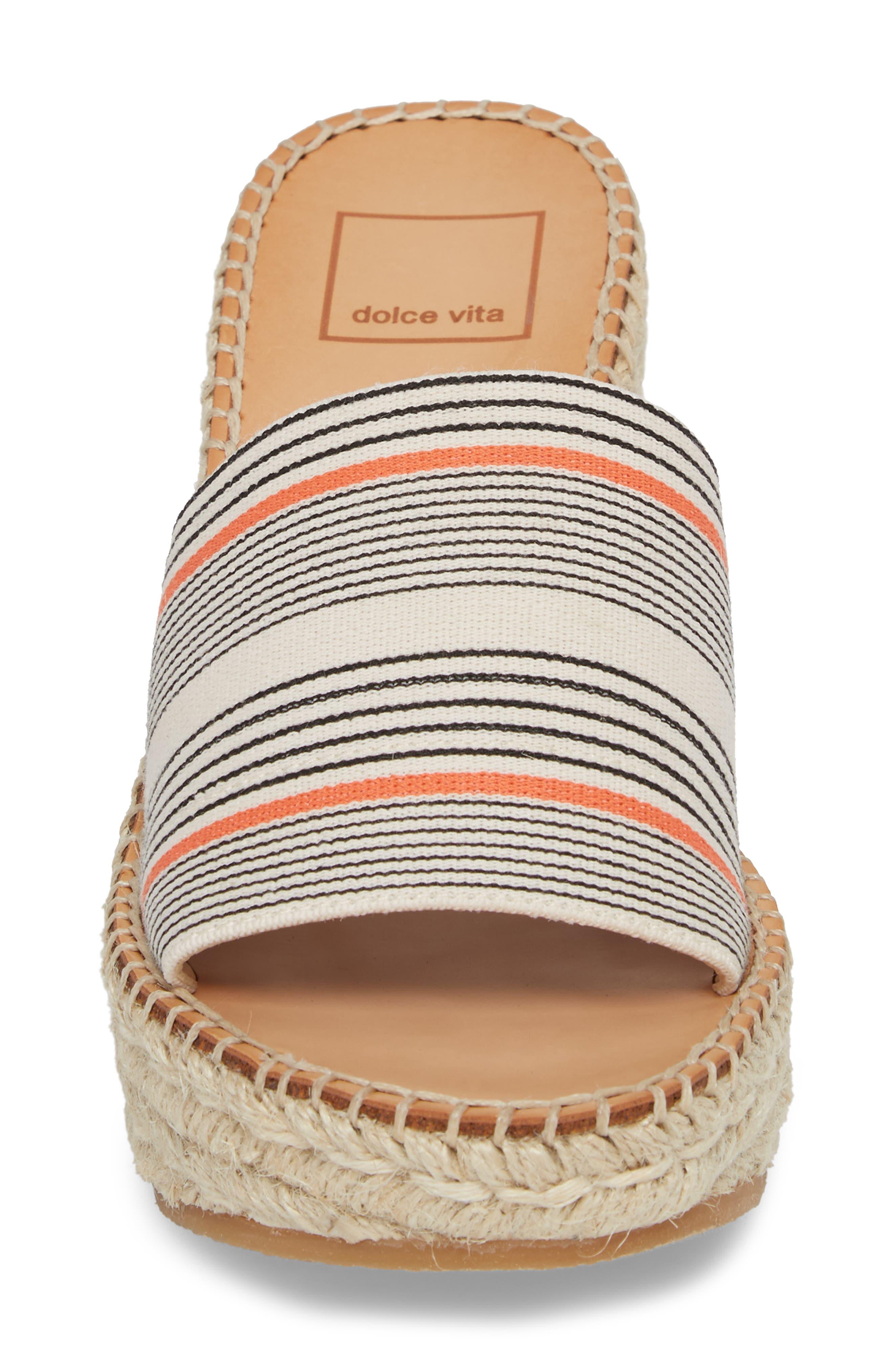 Pim Platform Wedge Slide,                             Alternate thumbnail 4, color,                             Coral Stripe