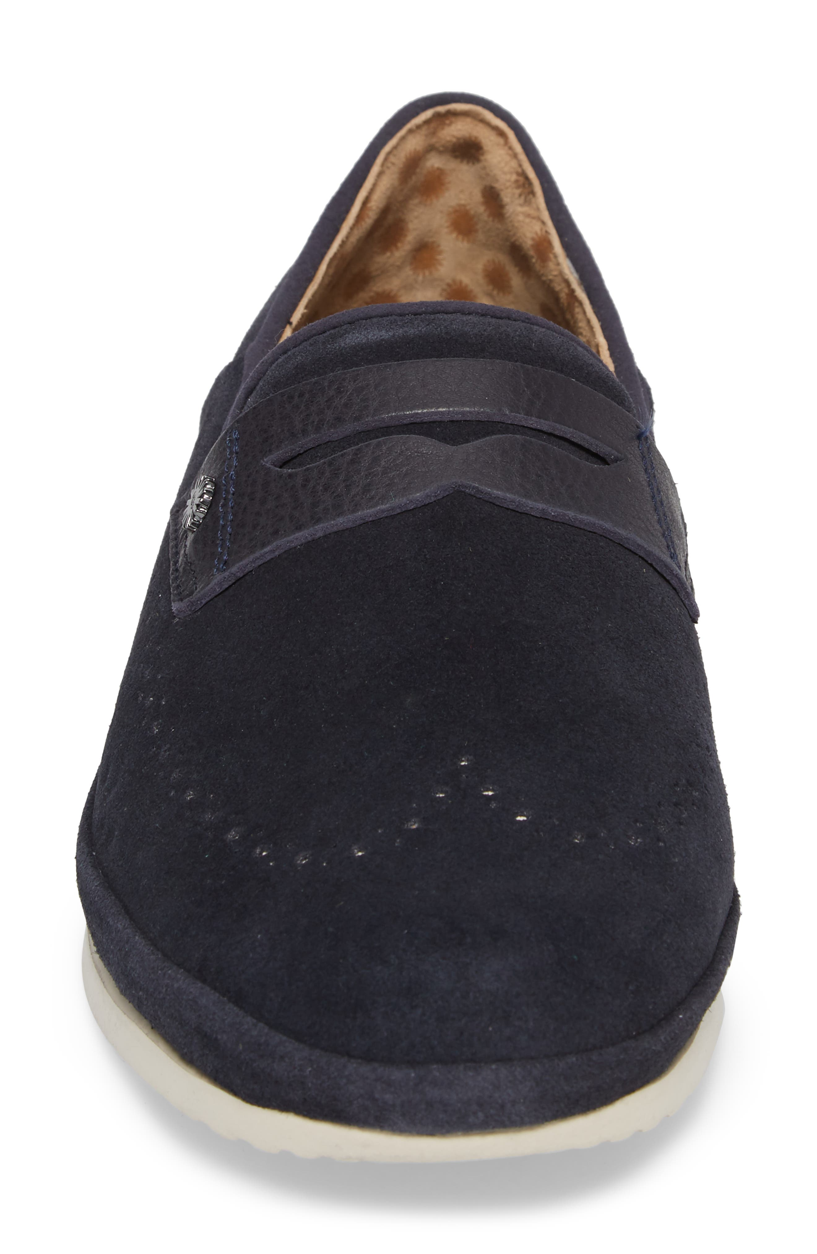 Cali Collapsible Wingtip Penny Loafer,                             Alternate thumbnail 4, color,                             Navy Leather
