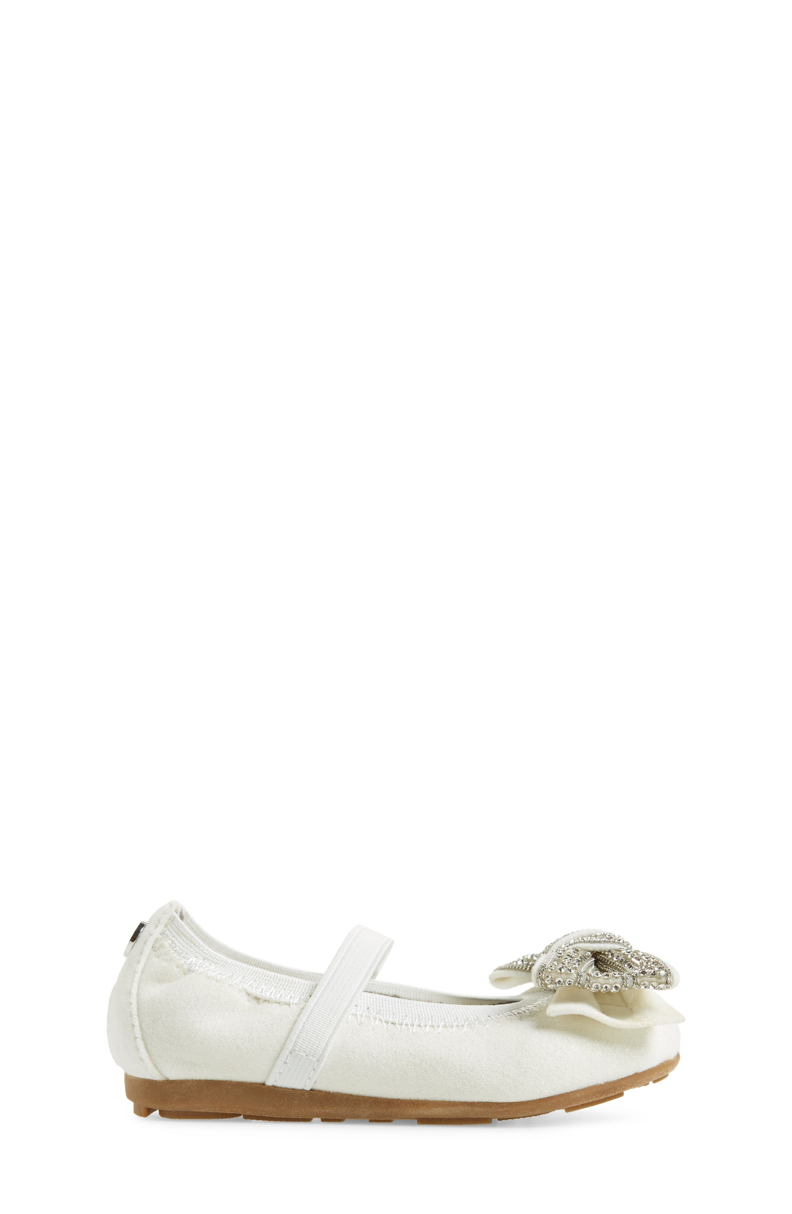 Fannie Embellished Bow Mary Jane Flat,                             Alternate thumbnail 3, color,                             White