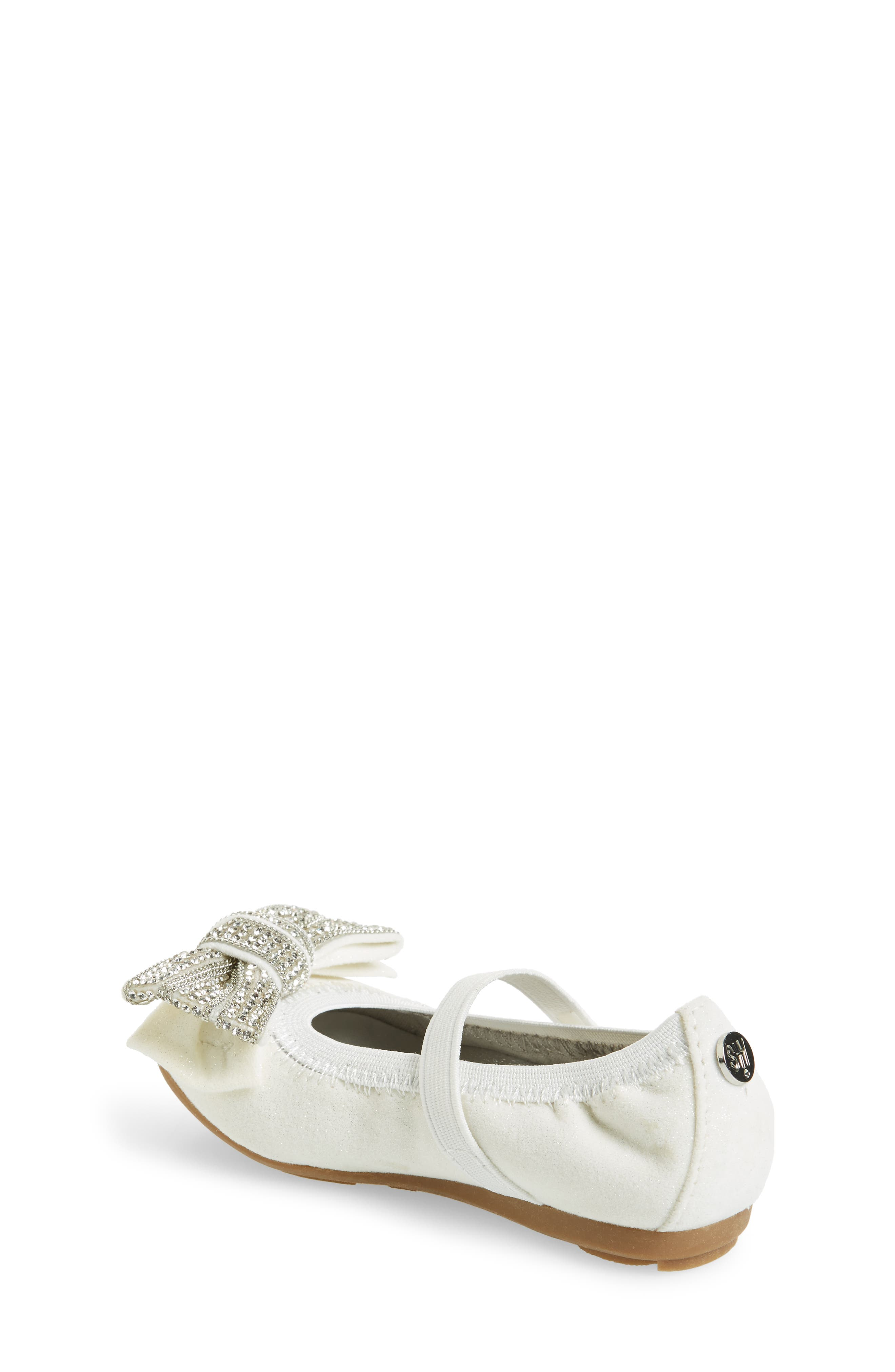 Fannie Embellished Bow Mary Jane Flat,                             Alternate thumbnail 2, color,                             White