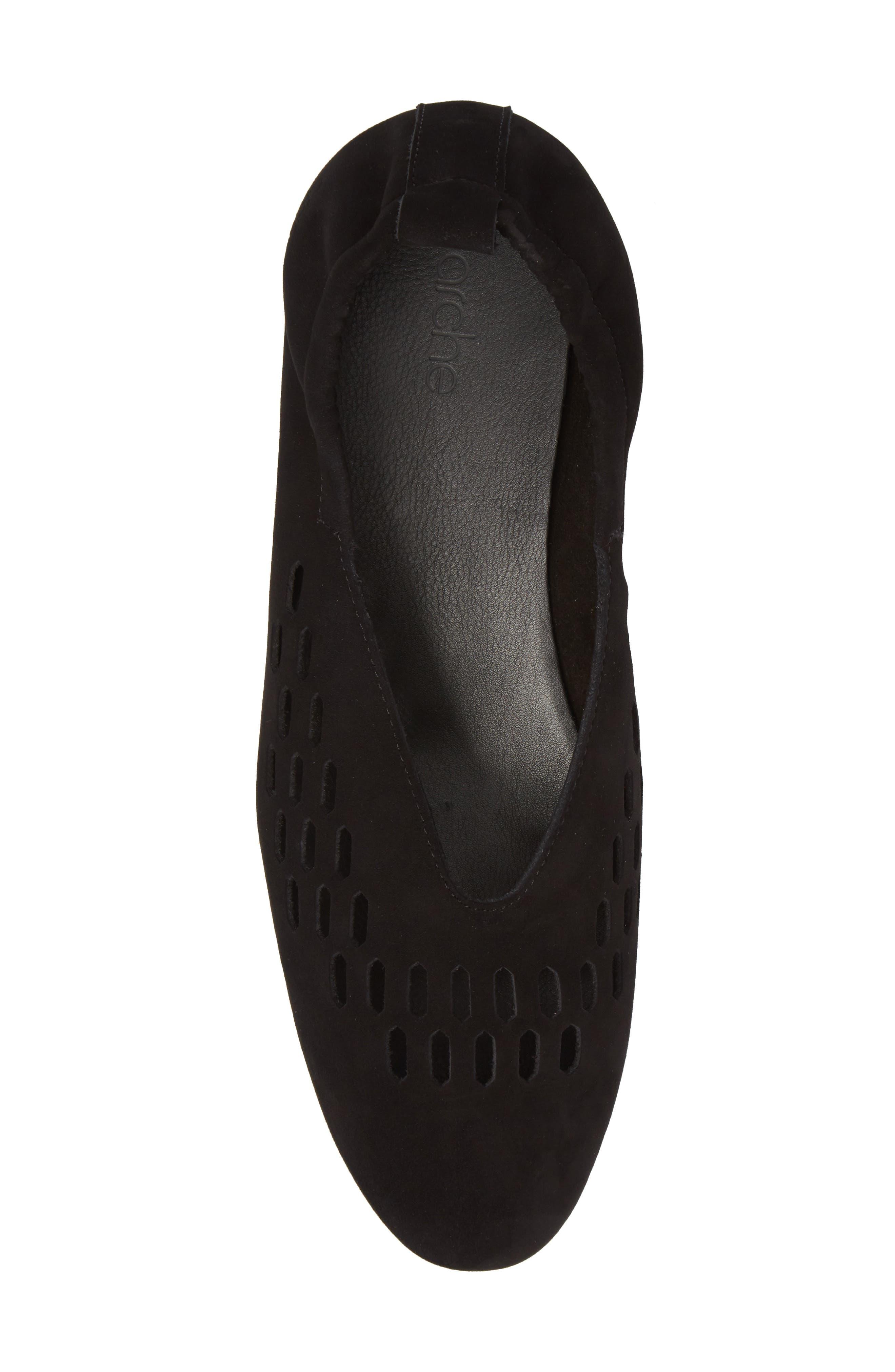 Bibiza Flat,                             Alternate thumbnail 5, color,                             Noir Nubuck Leather