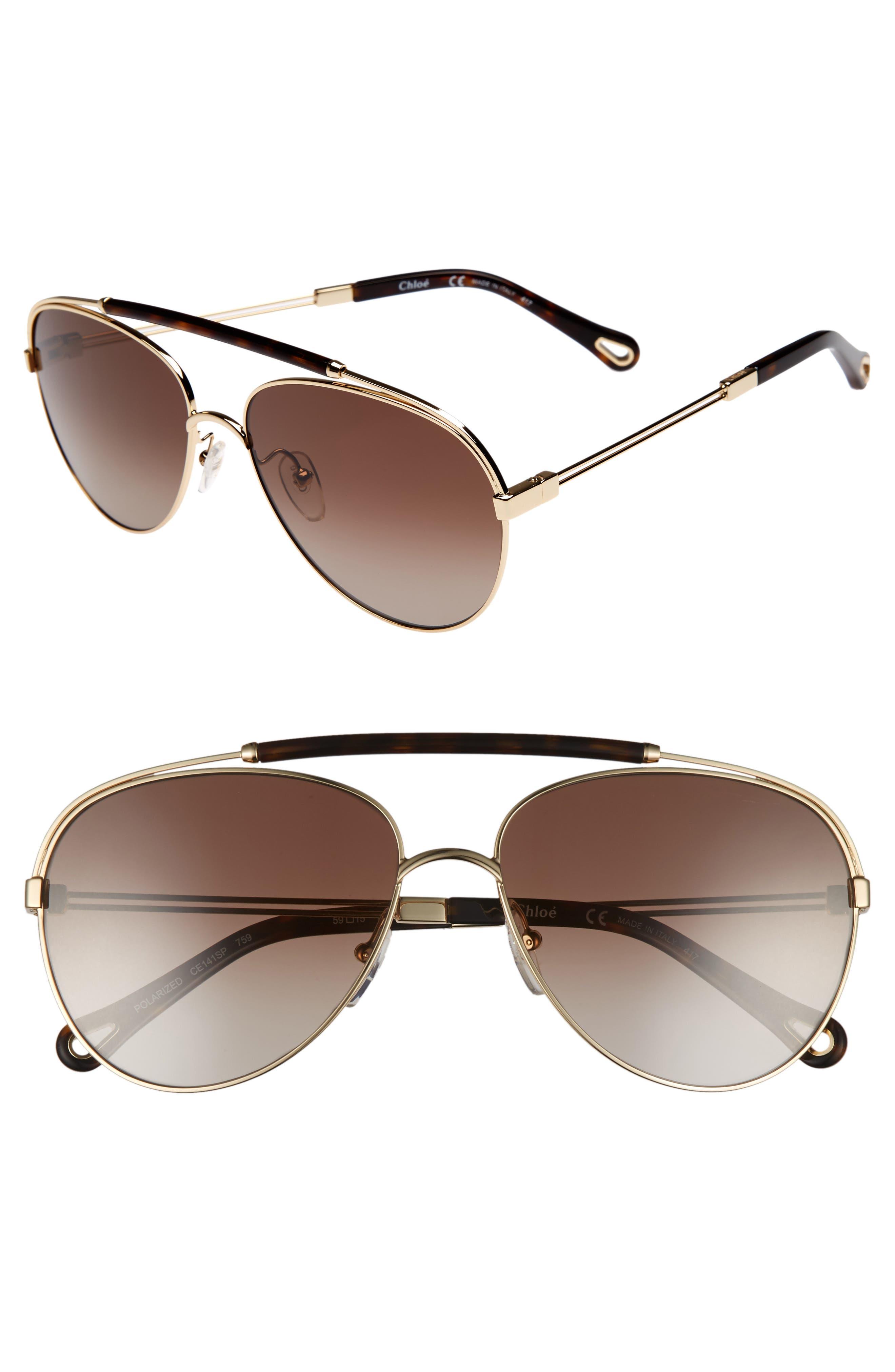 Chloé Jackie 59mm Polarized Metal Aviator Sunglasses
