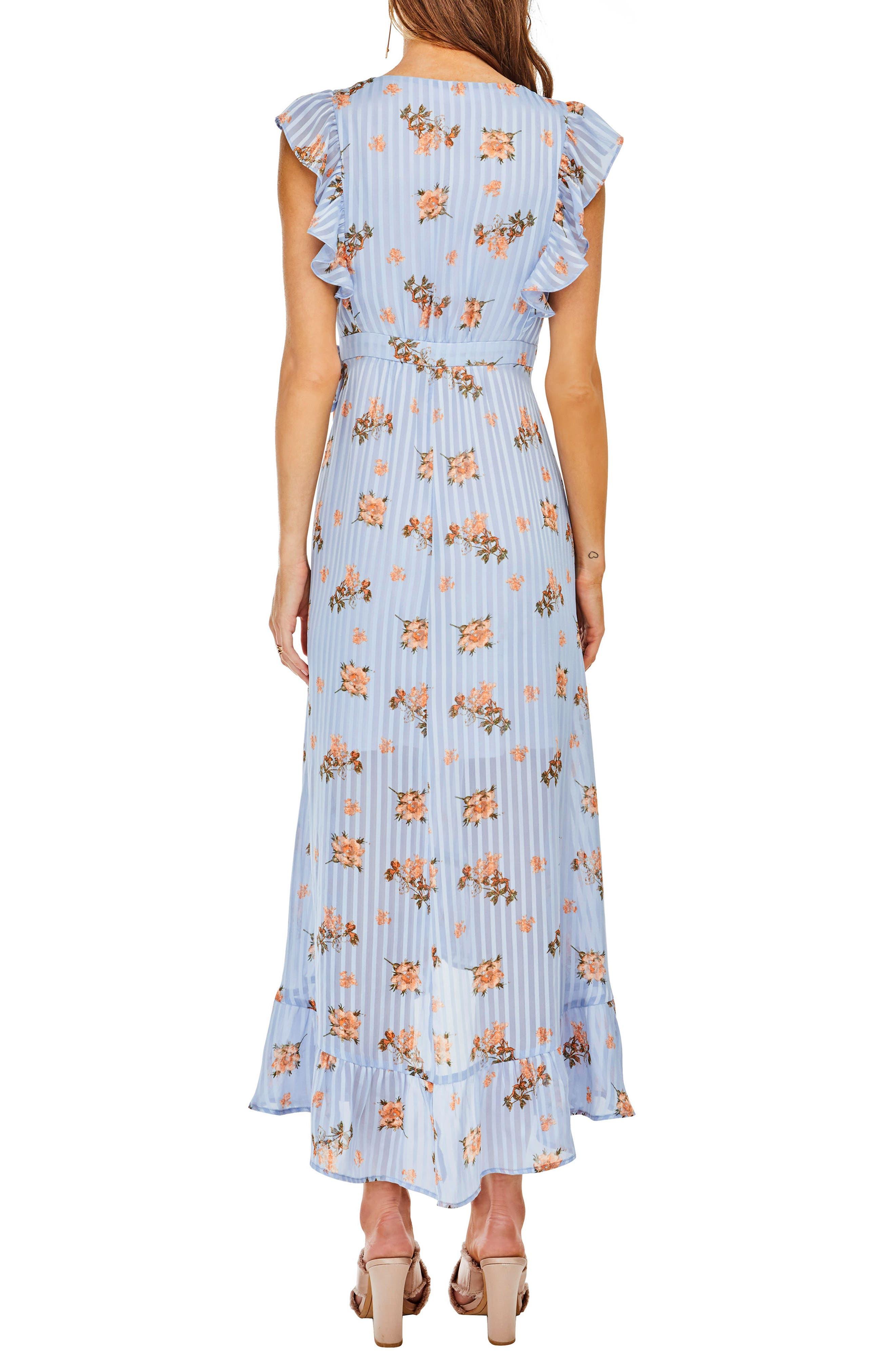 Lila Midi Dress,                             Alternate thumbnail 4, color,                             Blue/Peach Floral