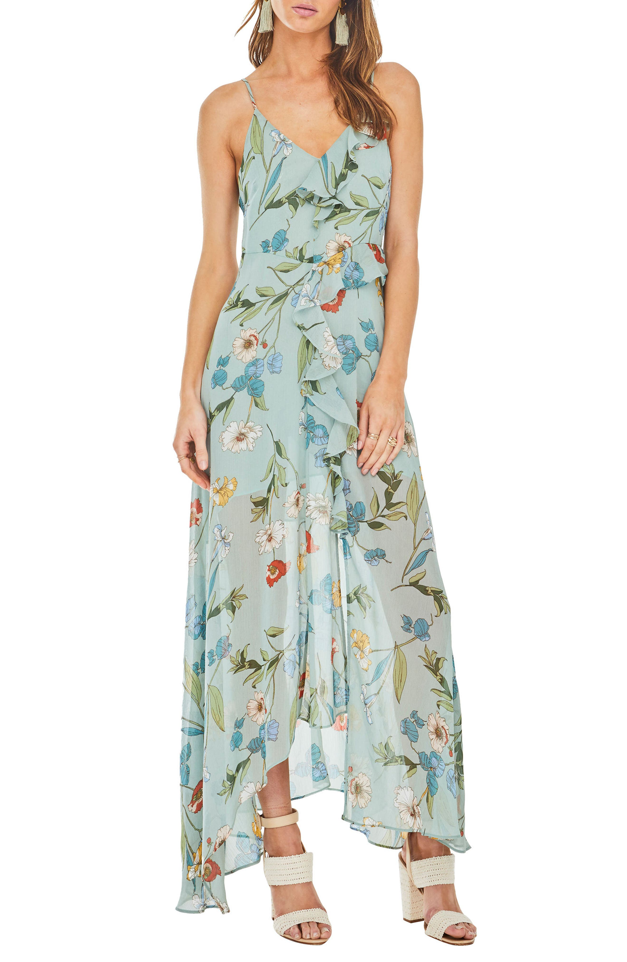 Sienna Maxi Dress,                             Main thumbnail 1, color,                             Sage Multi Floral
