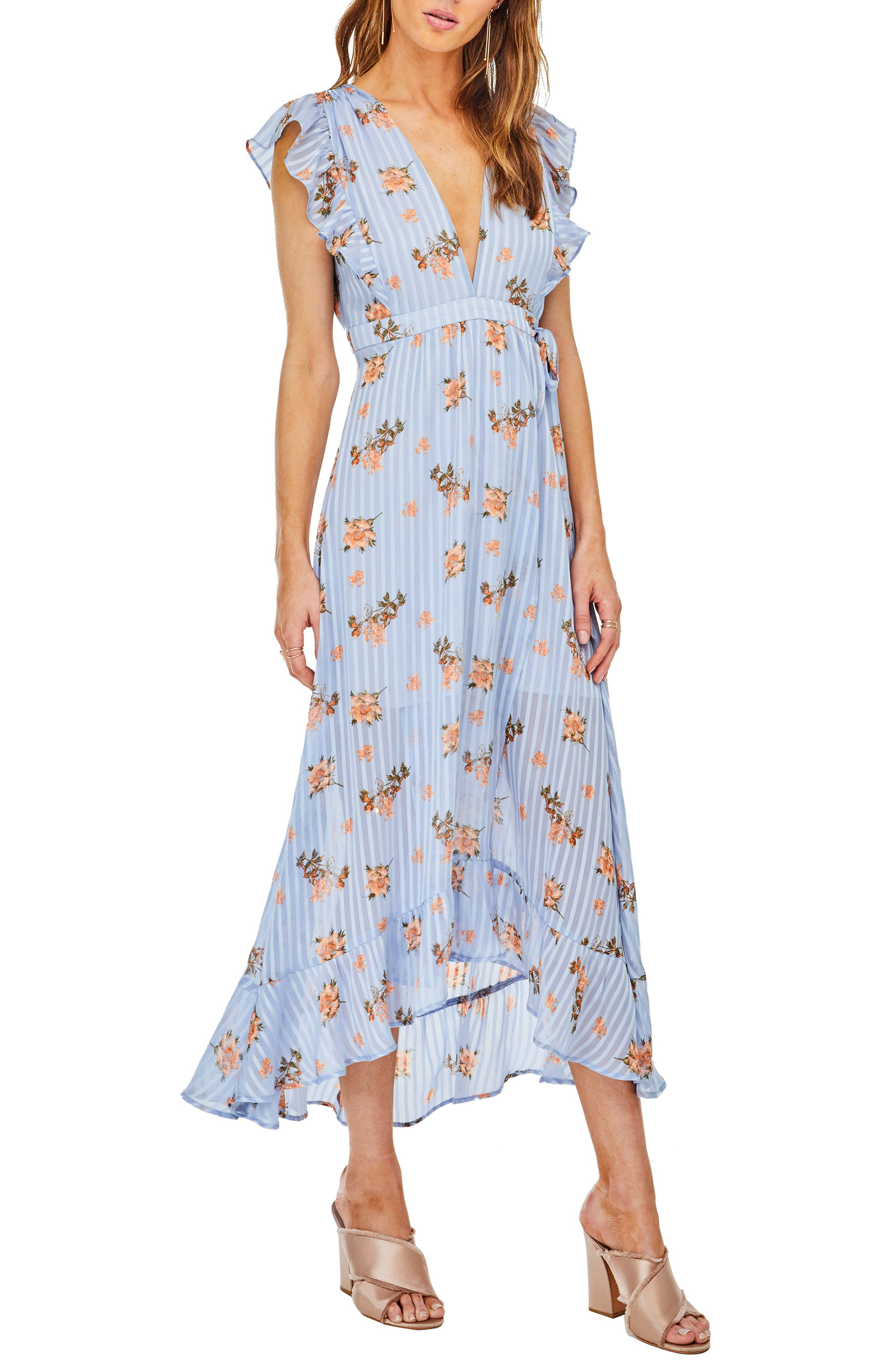 Lila Midi Dress,                             Main thumbnail 1, color,                             Blue/Peach Floral