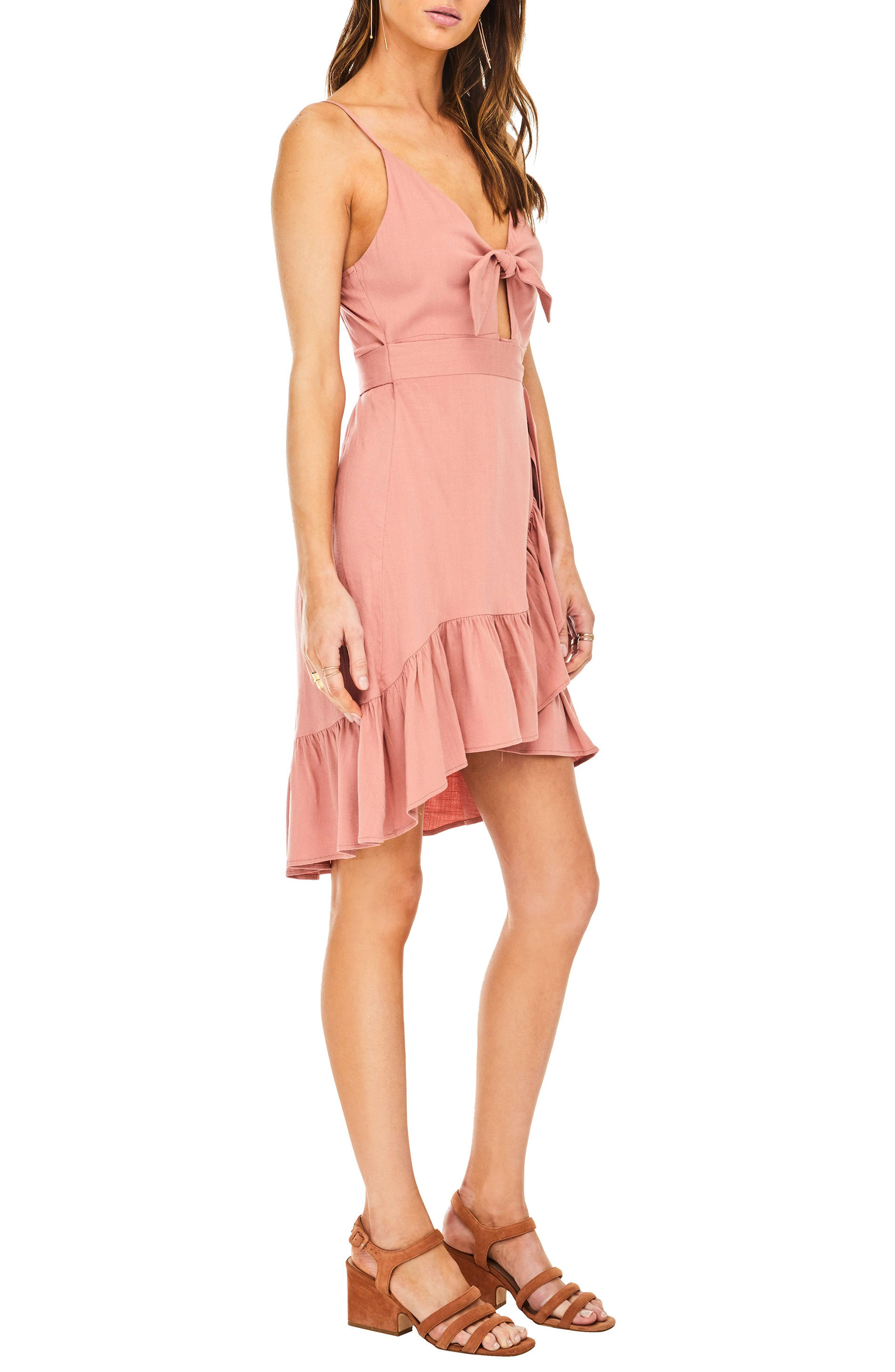 Sandy High/Low Minidress,                             Alternate thumbnail 4, color,                             Carnation Pink