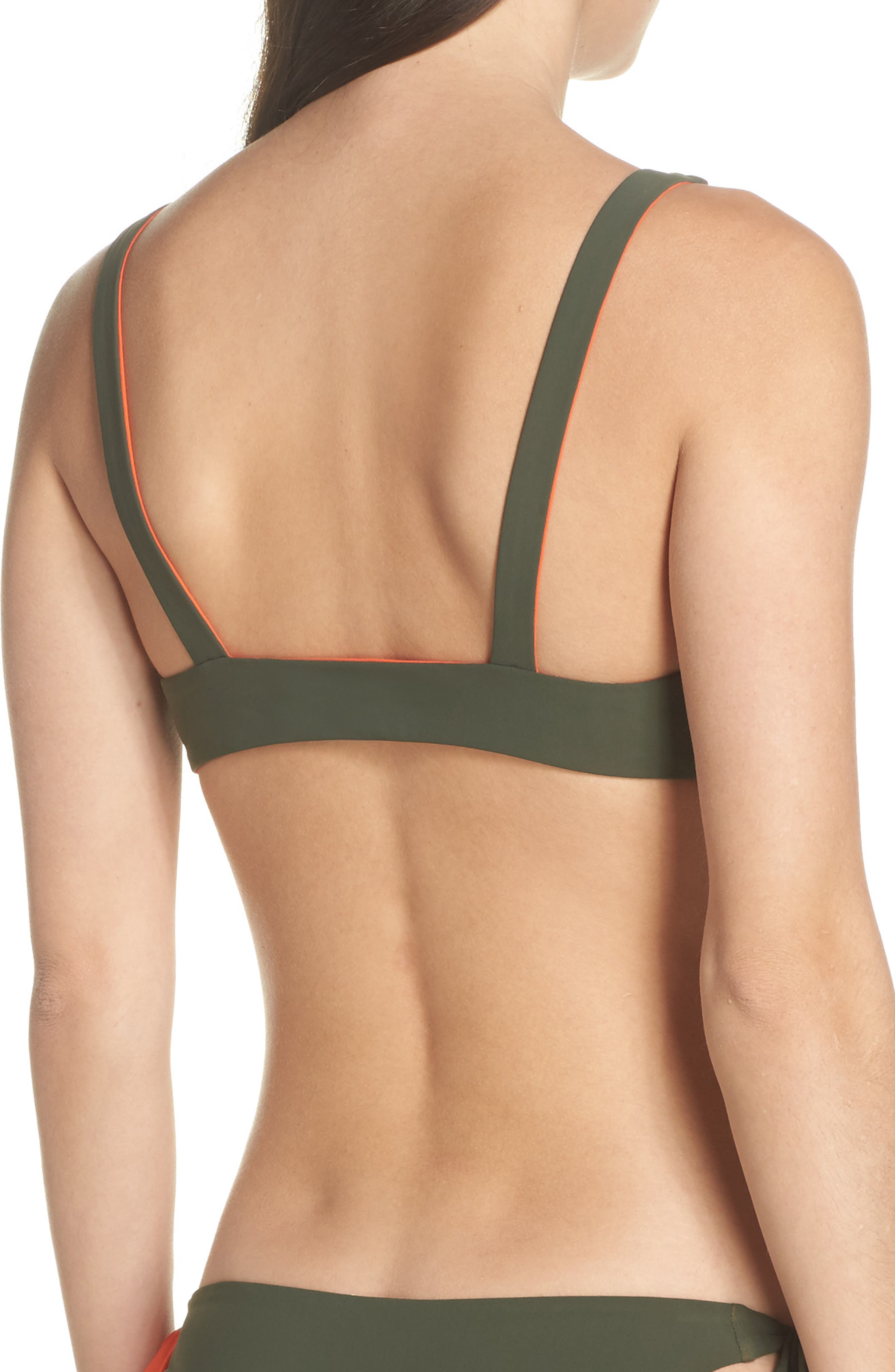 Biarritz Reversible Bikini Top,                             Alternate thumbnail 3, color,                             Green Olive/ Sweet Tangerine