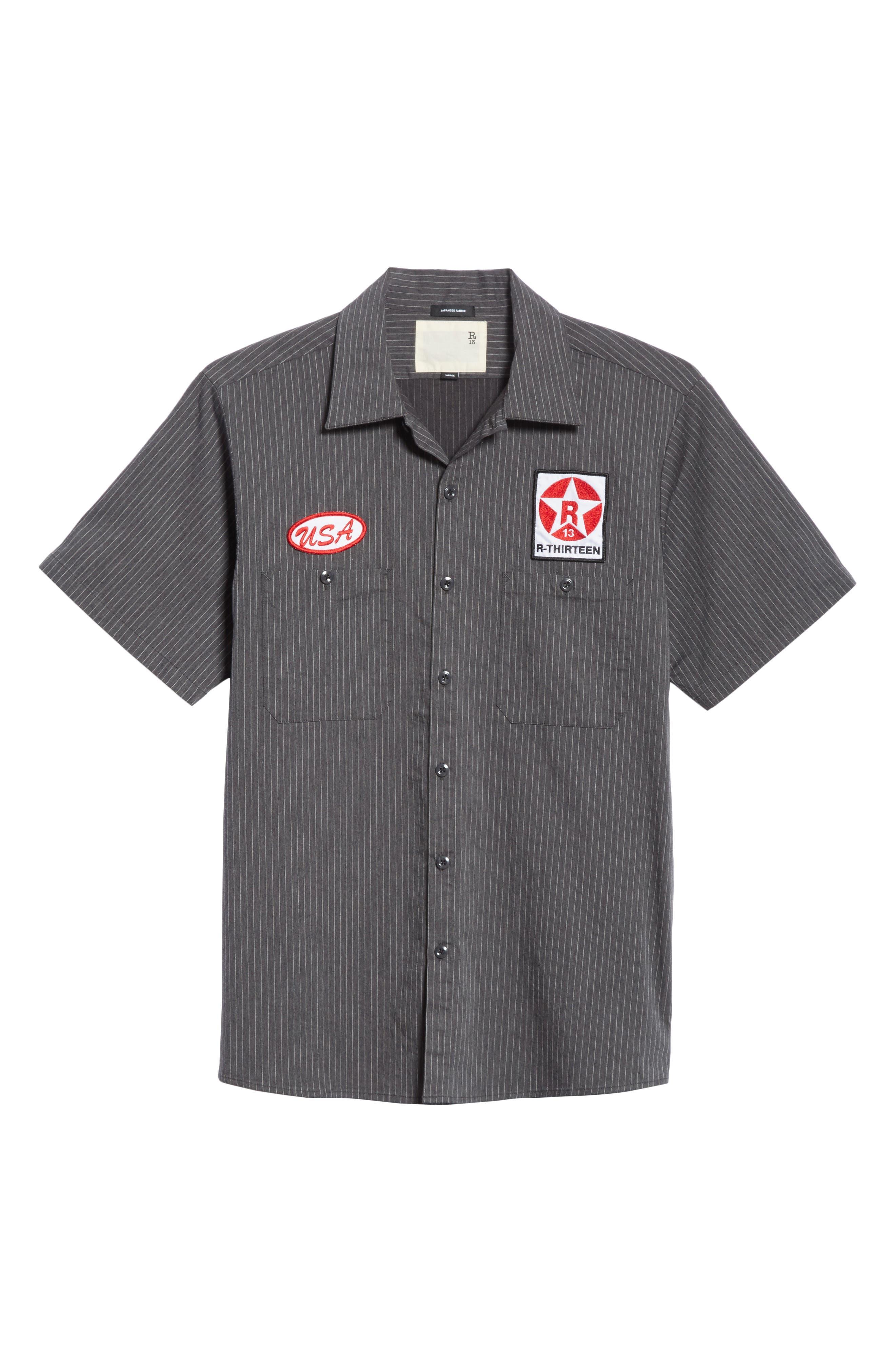 Mechanice Short Sleeve Woven Shirt,                             Alternate thumbnail 6, color,                             Charcoal Pinstripe