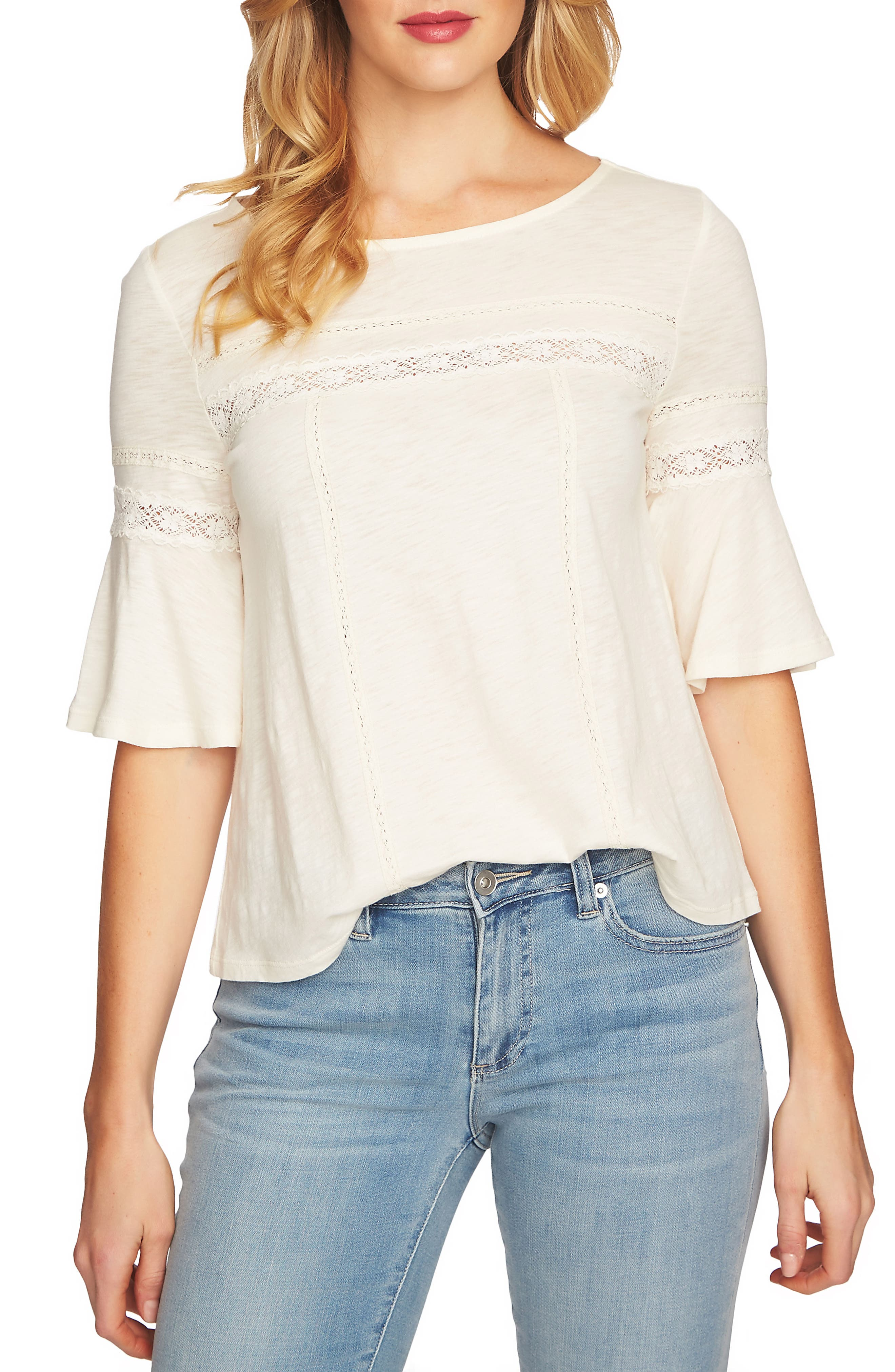 Ruffle Sleeve Top,                         Main,                         color, Antique White