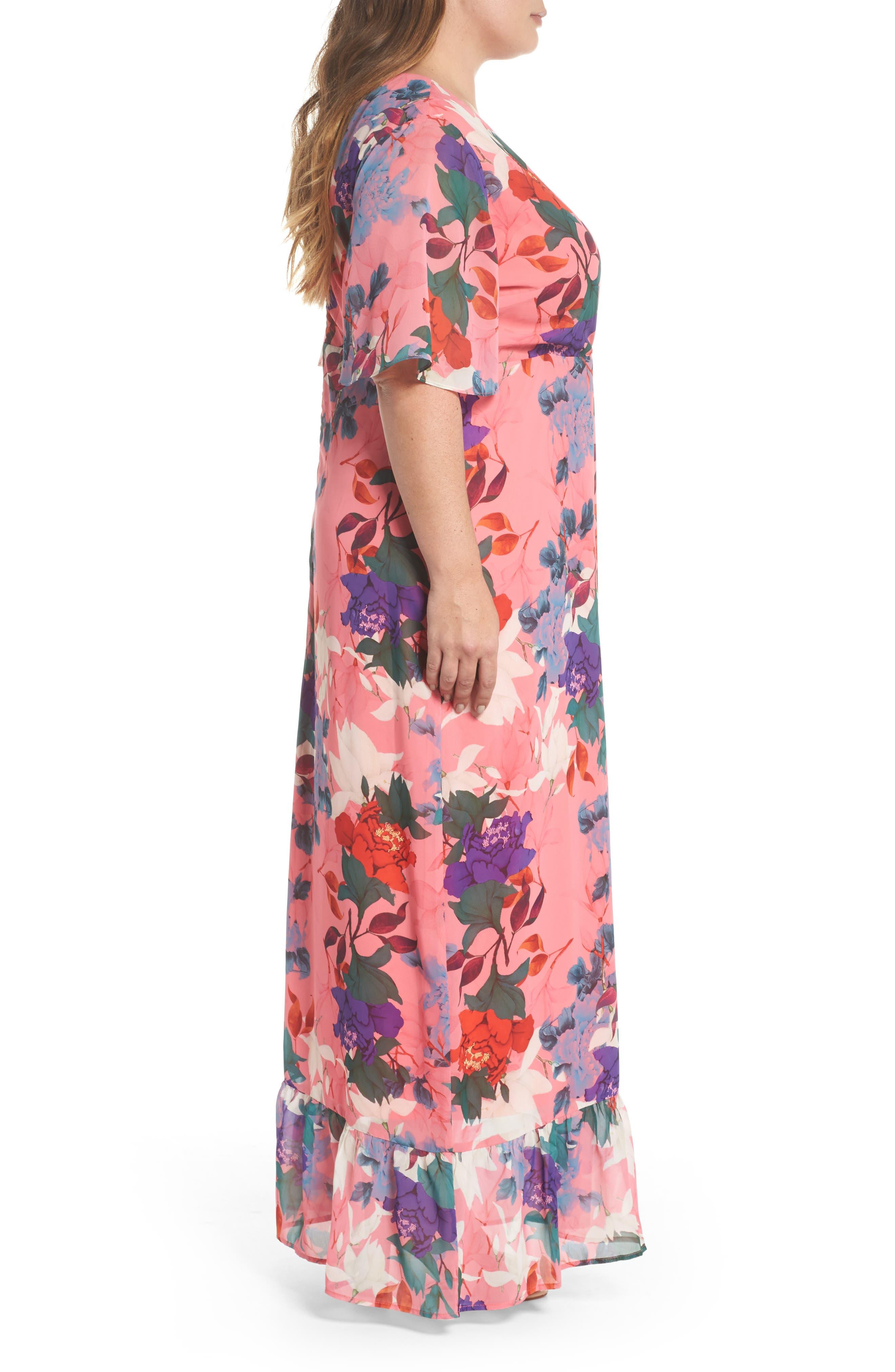 Floral Kimono Maxi Dress,                             Alternate thumbnail 3, color,                             Multi