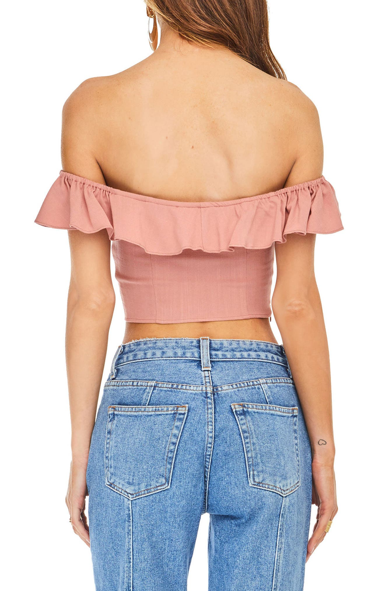 Abella Off the Shoulder Crop Top,                             Alternate thumbnail 4, color,                             Carnation Pink