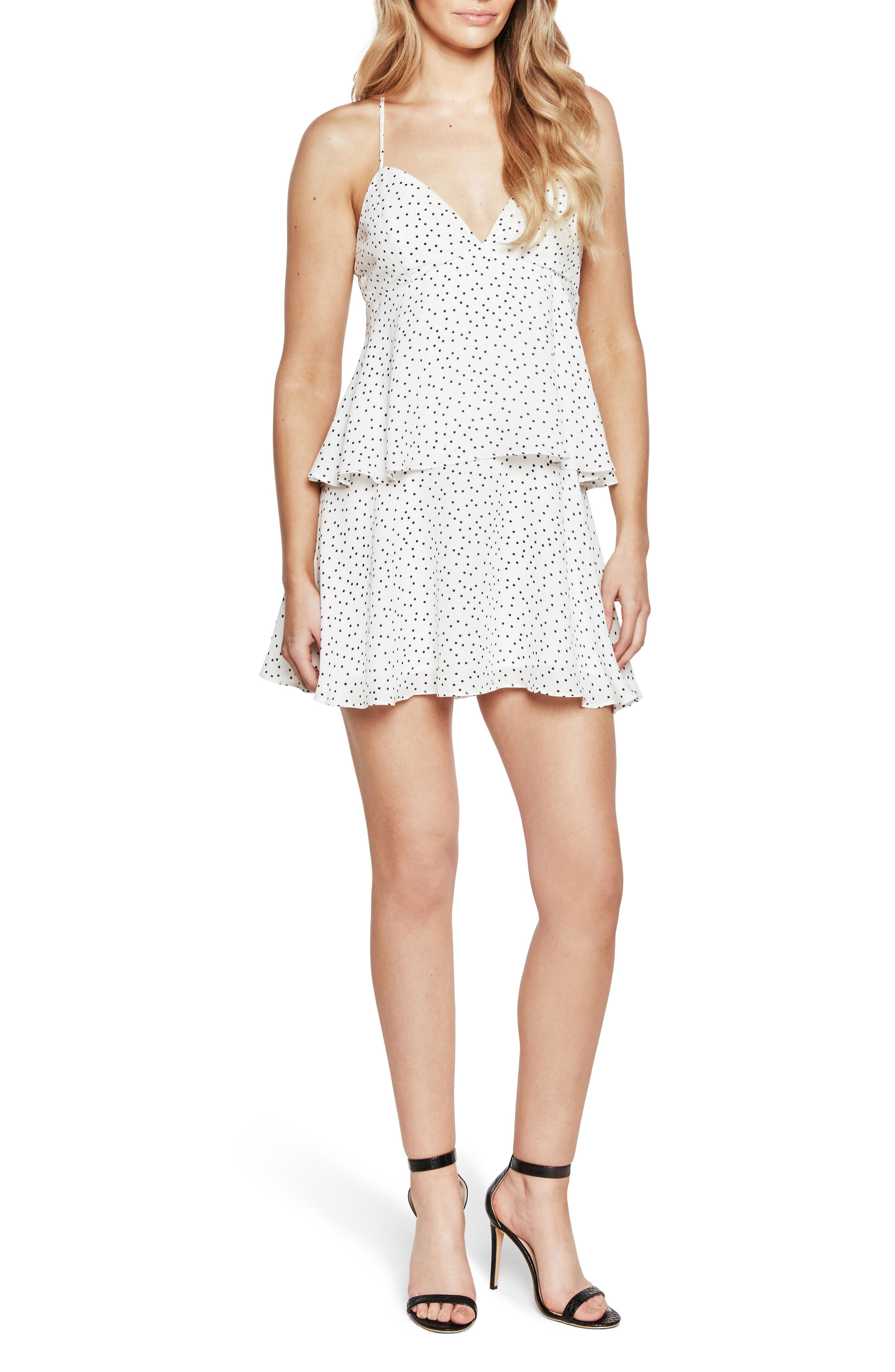 Polka Dot Tiered Slipdress,                         Main,                         color, Orchid White