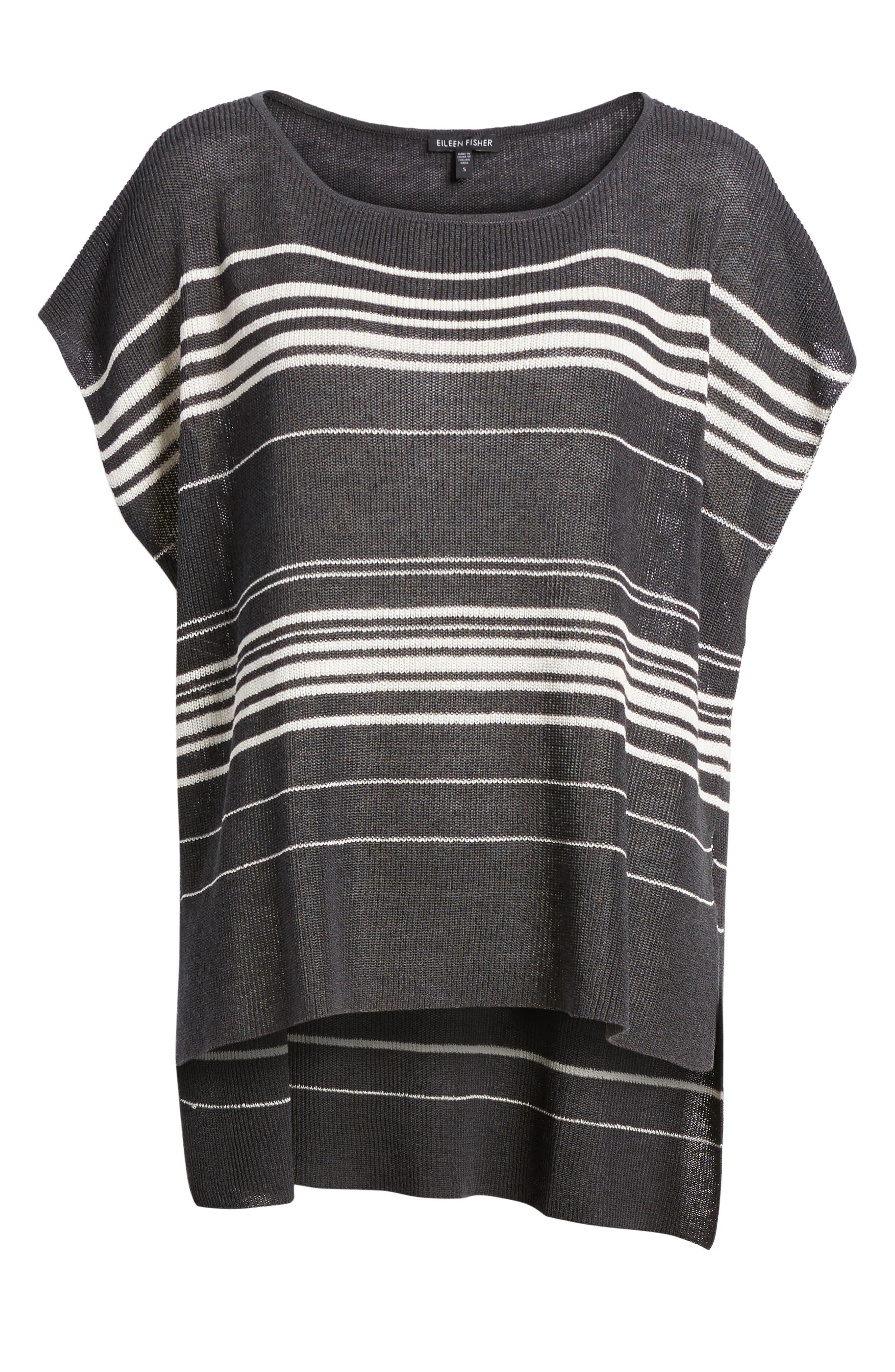 Organic Linen Blend Poncho Sweater,                             Alternate thumbnail 7, color,                             Graphite/ Bone