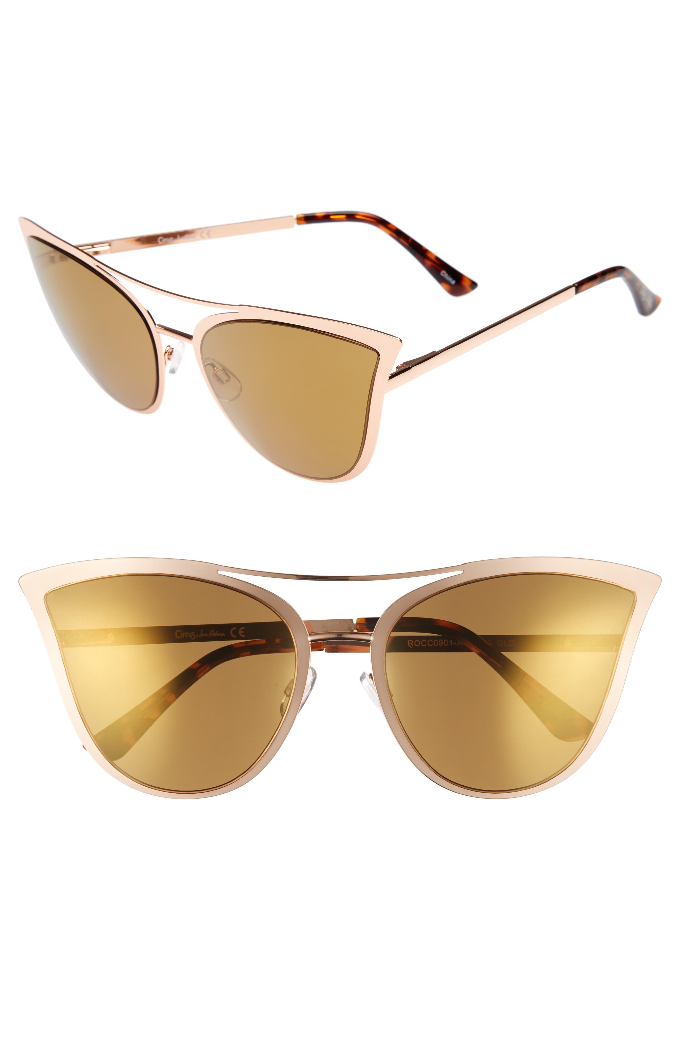 61mm Metal Cat Eye Sunglasses,                             Main thumbnail 1, color,                             Gold