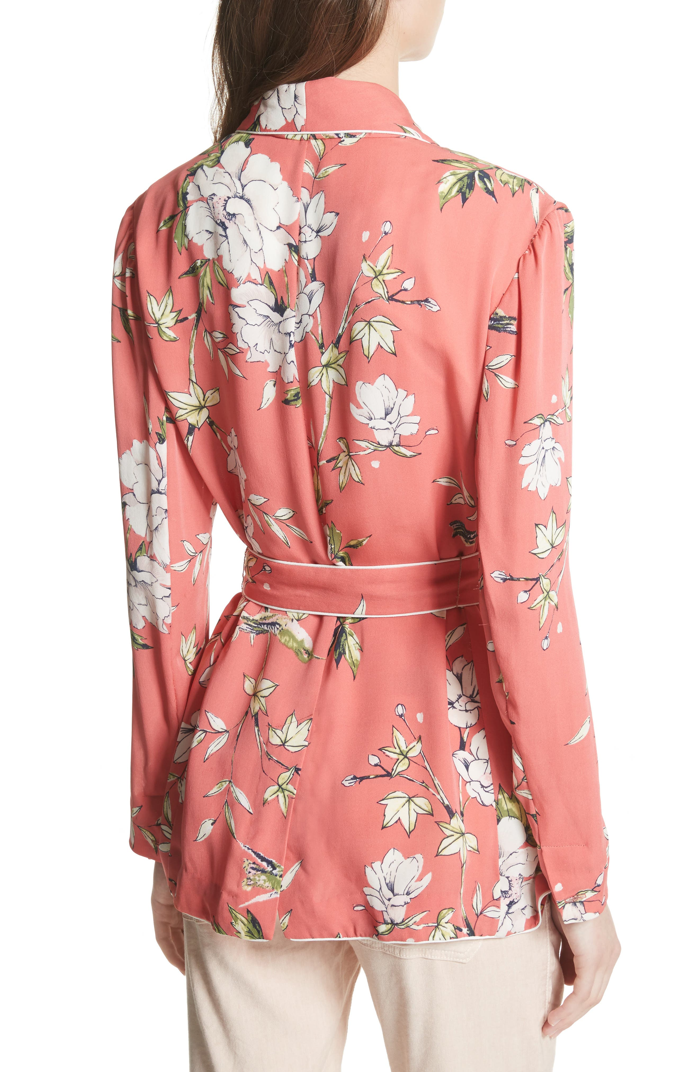 Anasophia Tie Silk Blazer,                             Alternate thumbnail 2, color,                             Strawberry