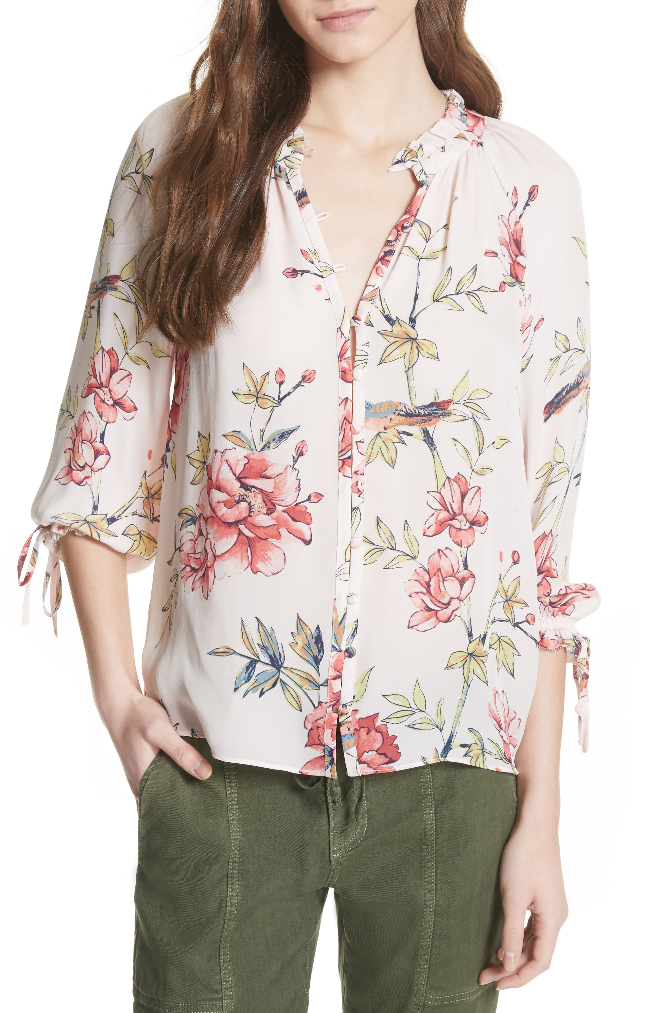 Corsen Floral Silk Blouse,                             Main thumbnail 1, color,                             Rosewater
