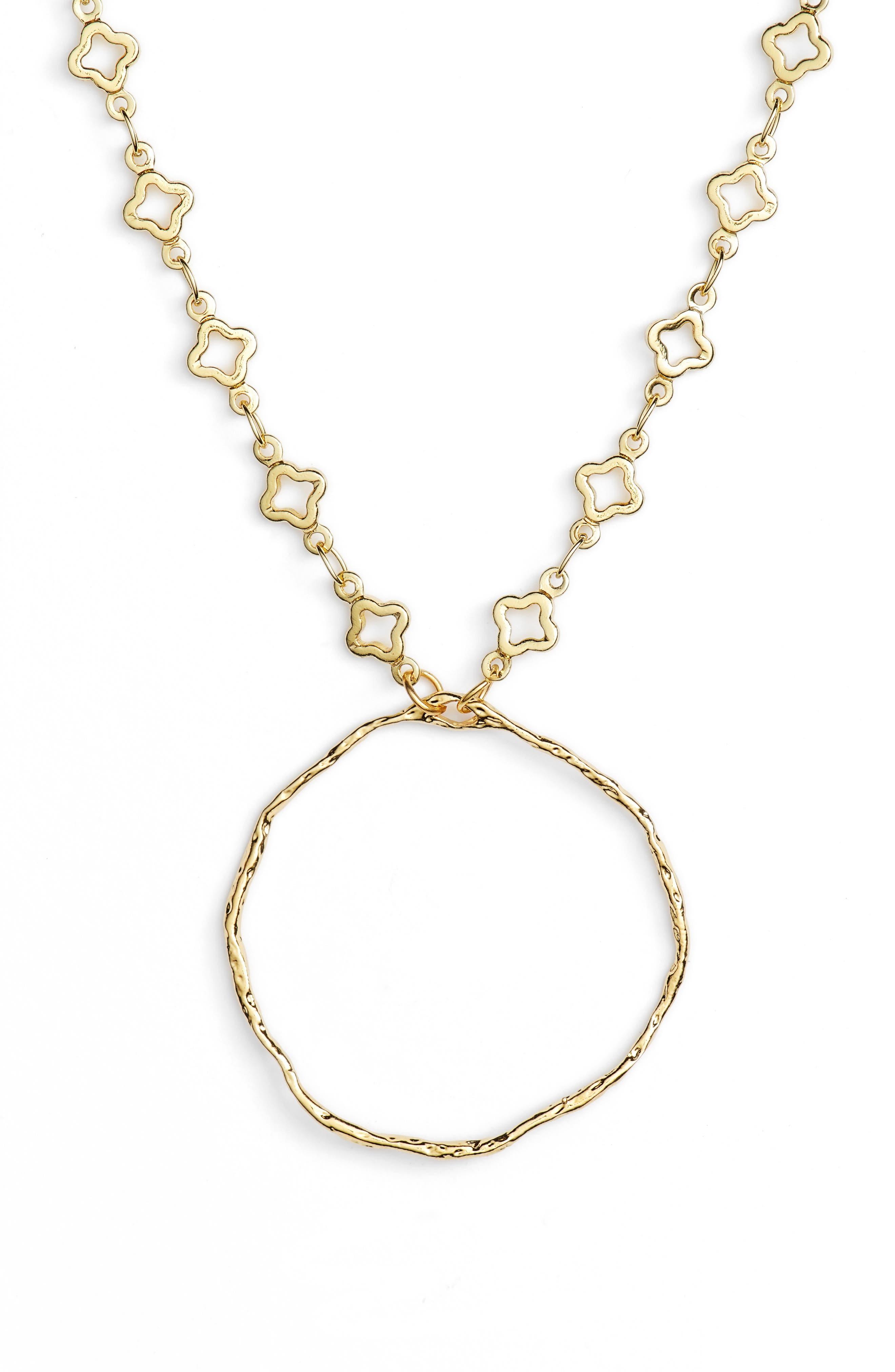 Catalan Hoop Pendant Necklace,                             Main thumbnail 1, color,                             Gold