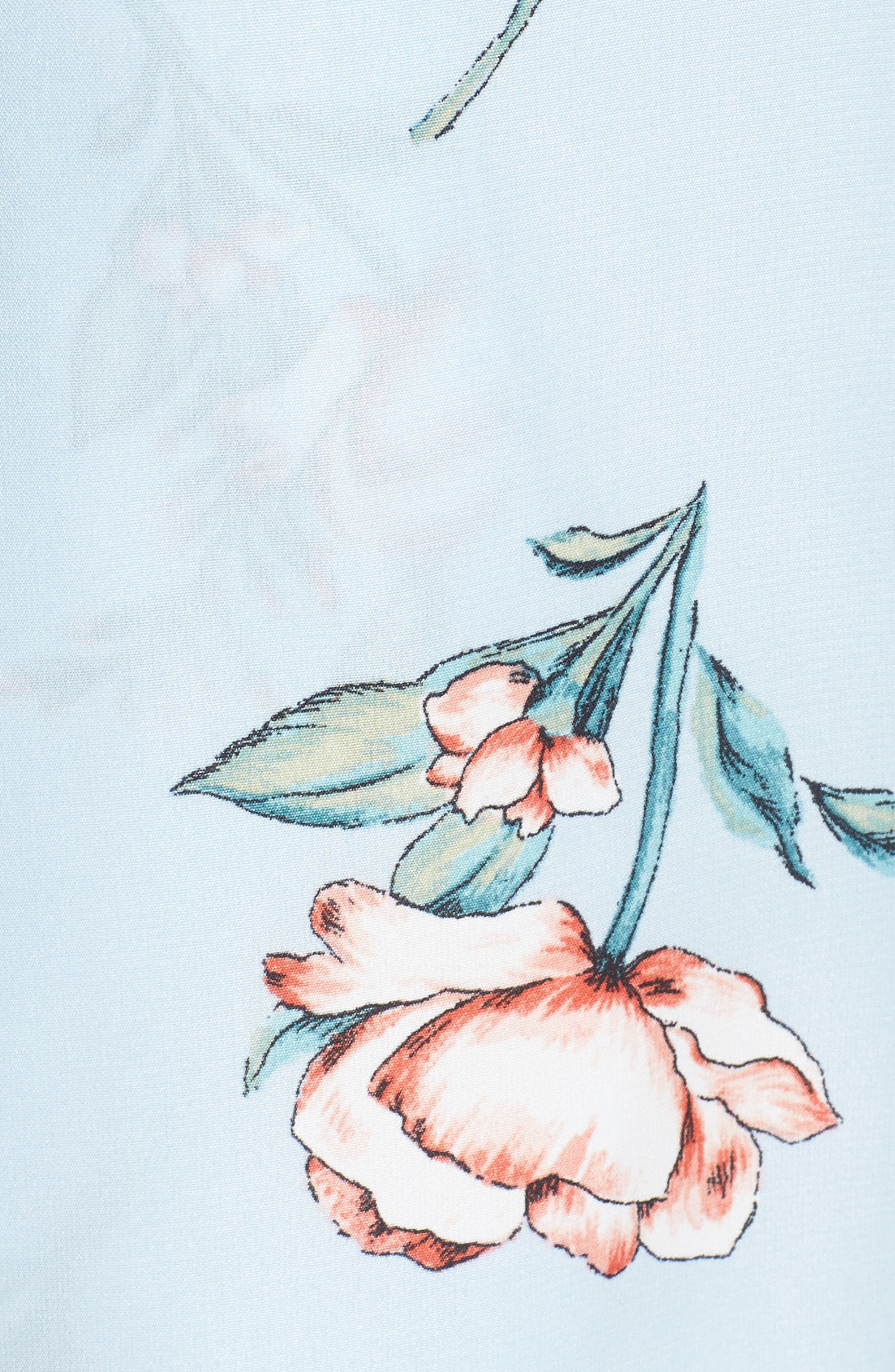 Tie Front Romper,                             Alternate thumbnail 6, color,                             Dusty Blue Floral
