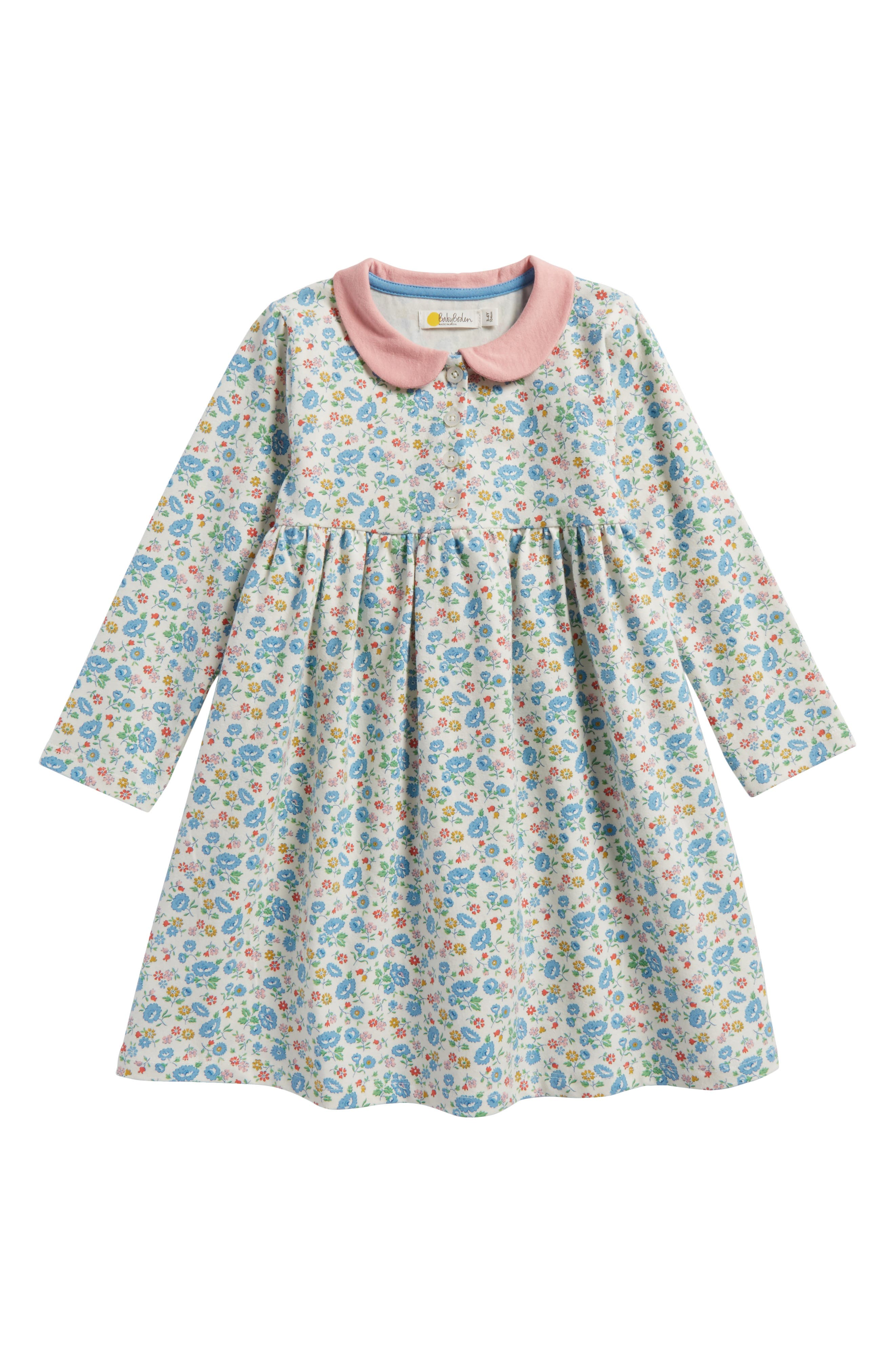 Pretty Peter Pan Collar Jersey Dress,                             Main thumbnail 1, color,                             Ecru Summer Floral