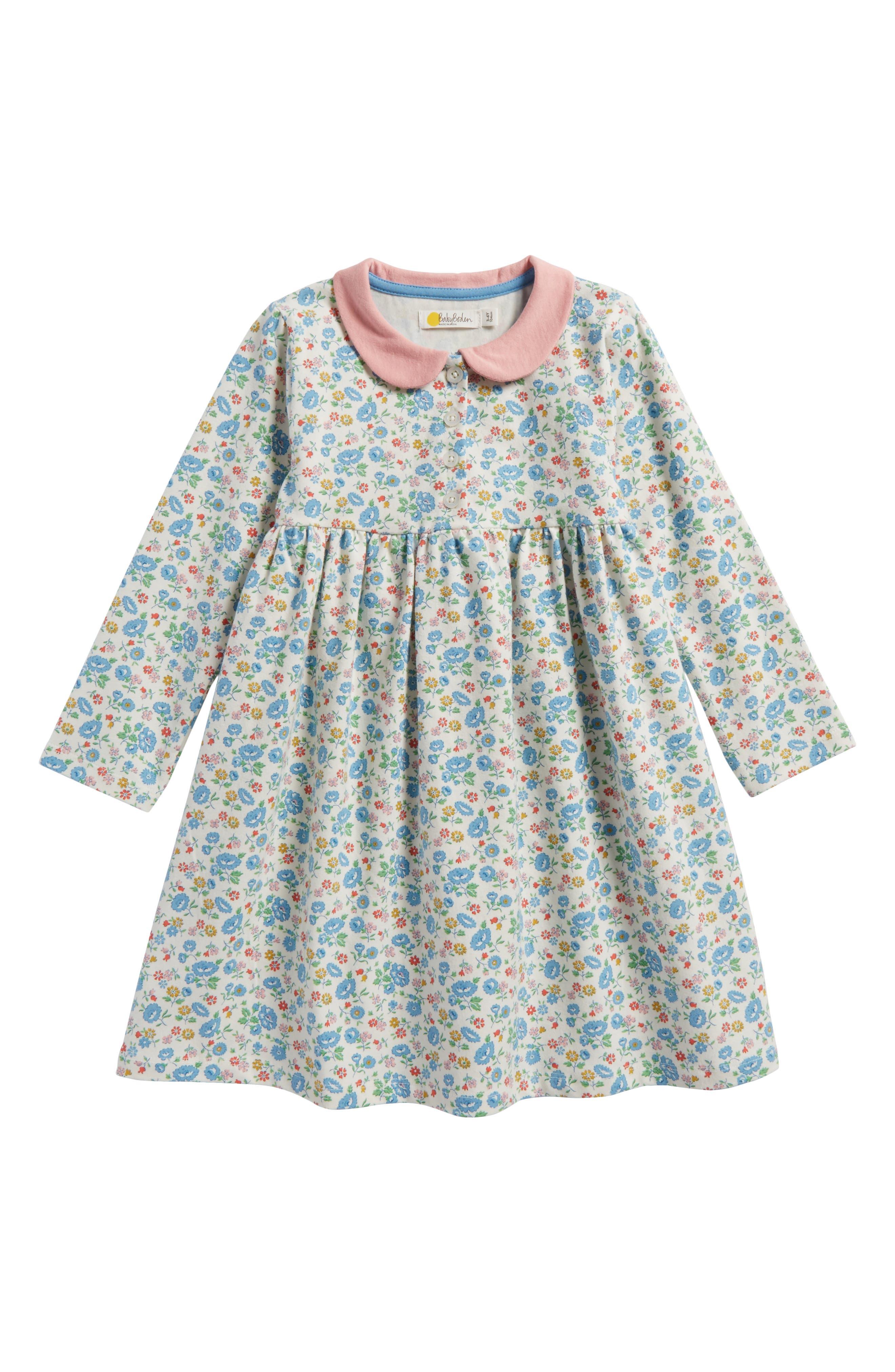 Pretty Peter Pan Collar Jersey Dress,                         Main,                         color, Ecru Summer Floral