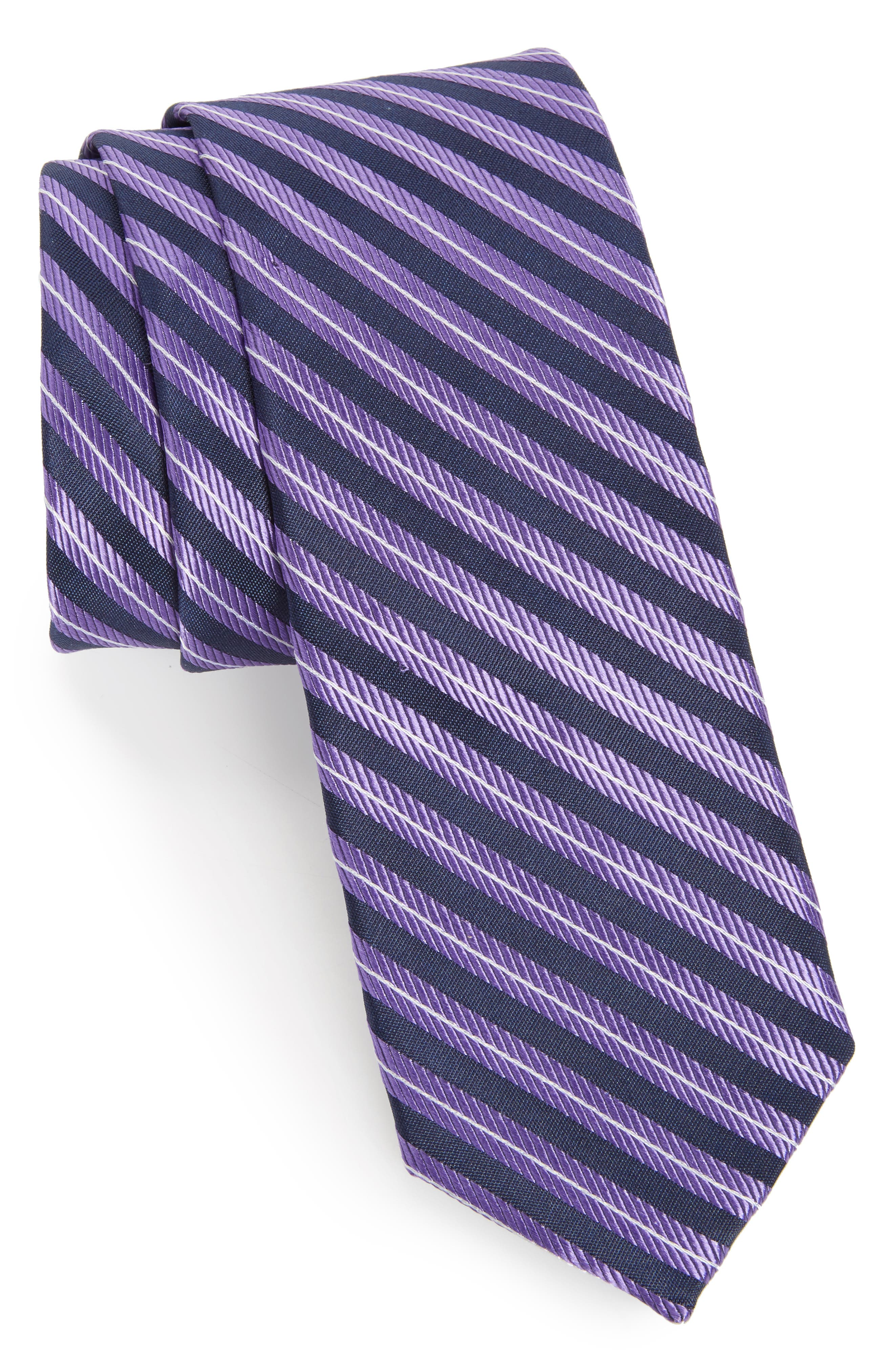Milliner Stripe Silk Tie,                             Main thumbnail 1, color,                             Purple