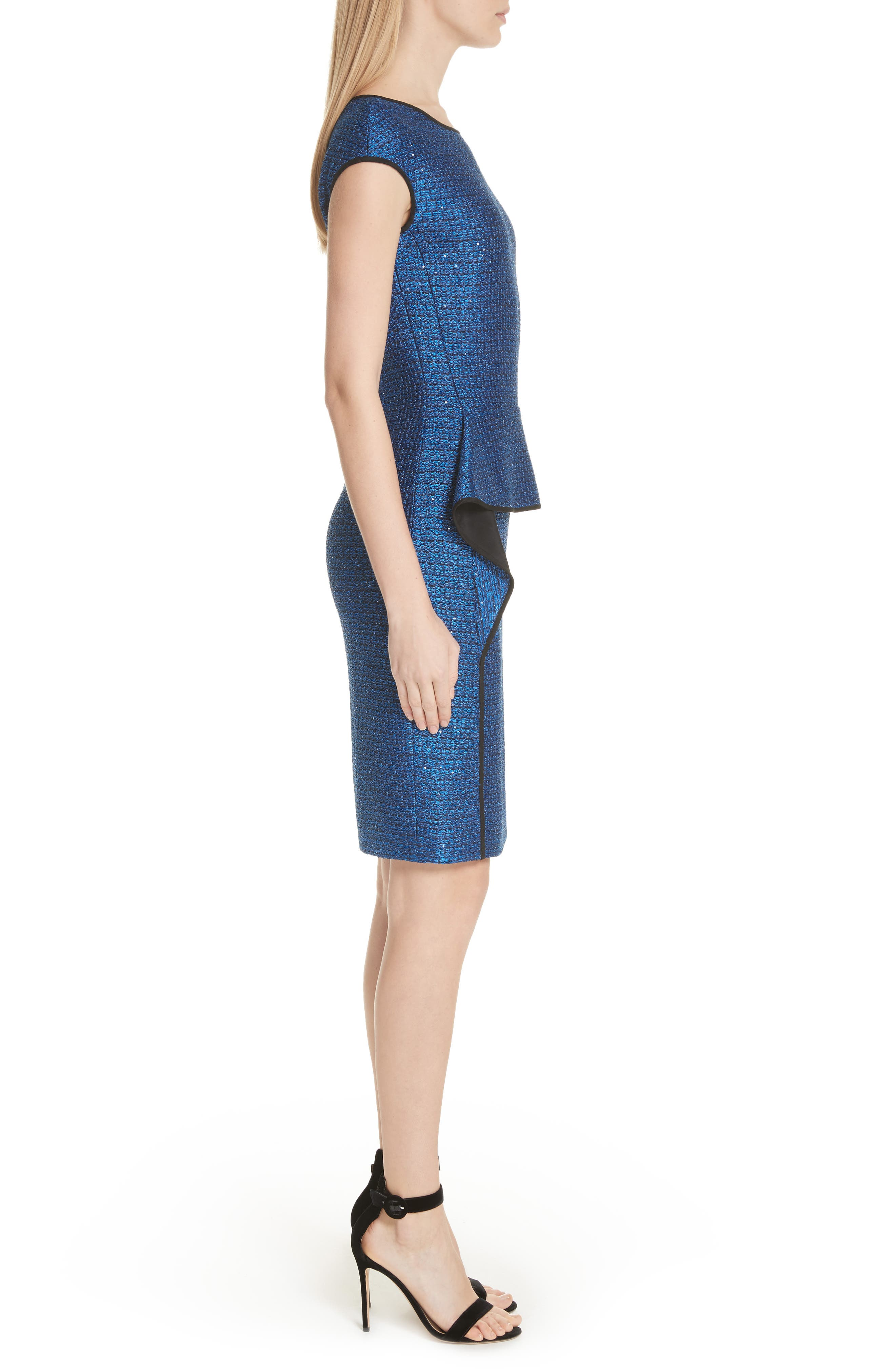 Luster Sequin Knit Dress,                             Alternate thumbnail 3, color,                             Cobalt Multi