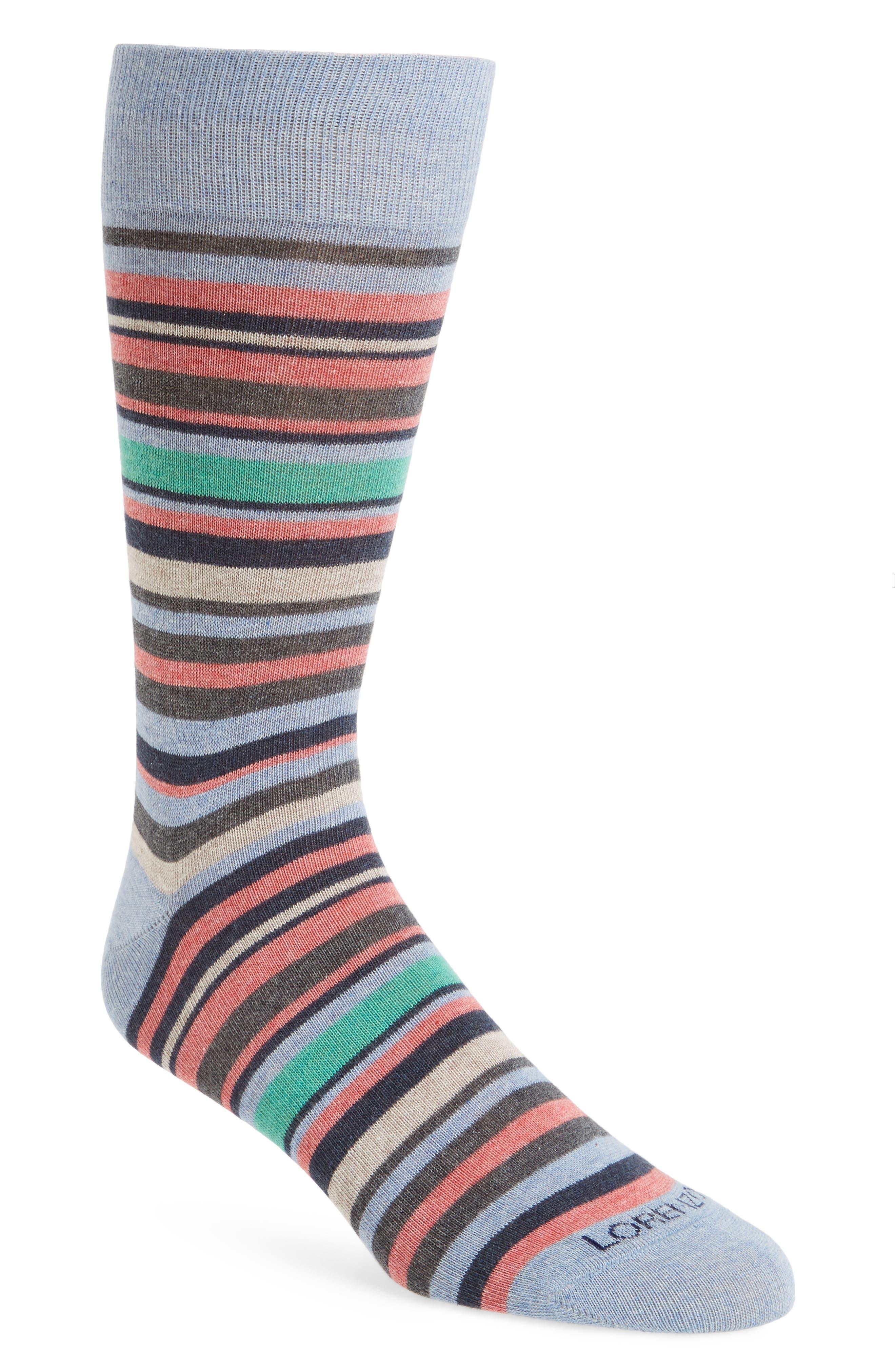 Stripe Cotton Blend Socks,                             Main thumbnail 1, color,                             Light Blue