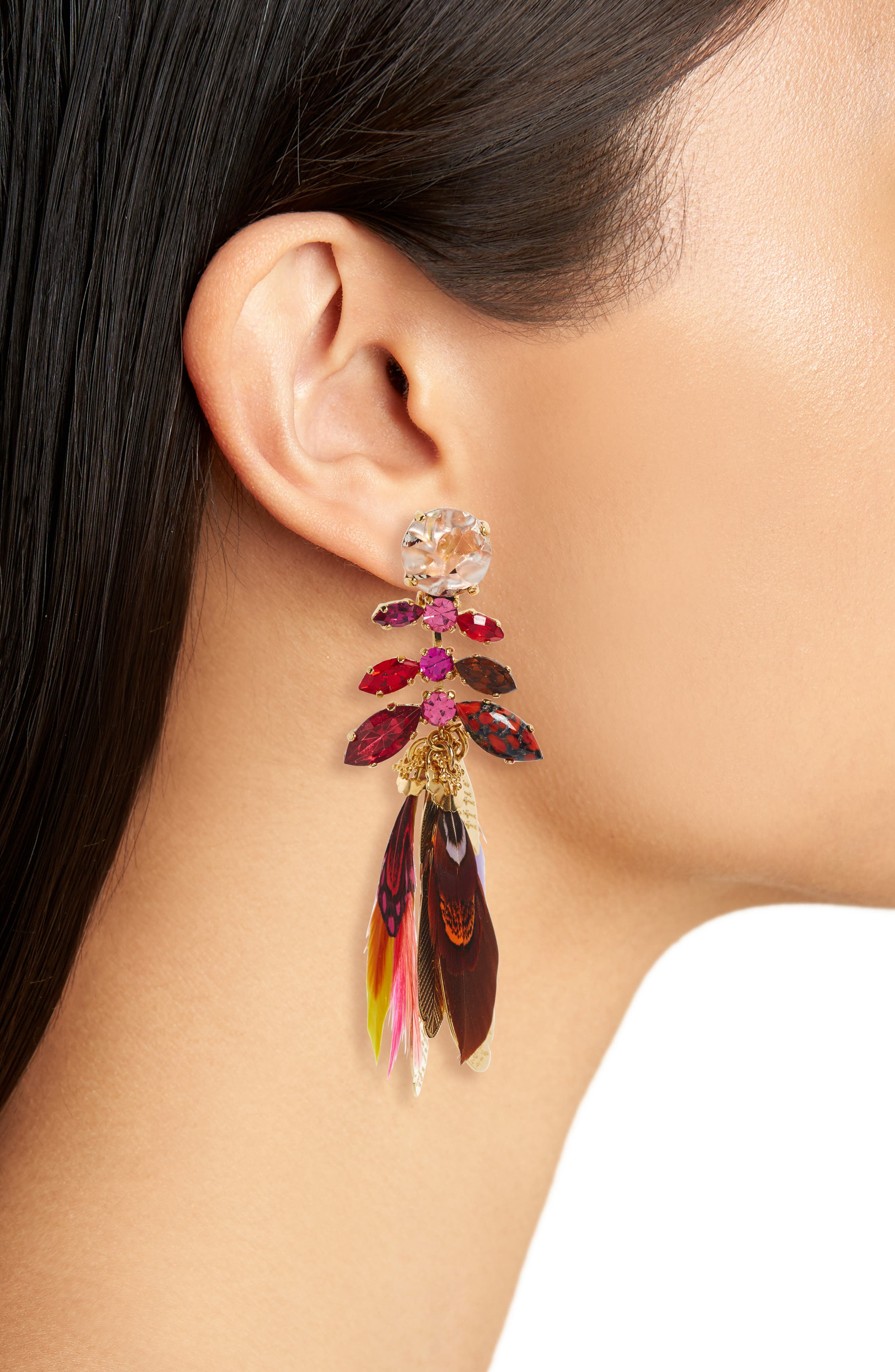 Cabaret Clip-On Feather Drop Earrings,                             Alternate thumbnail 2, color,                             Red Multi