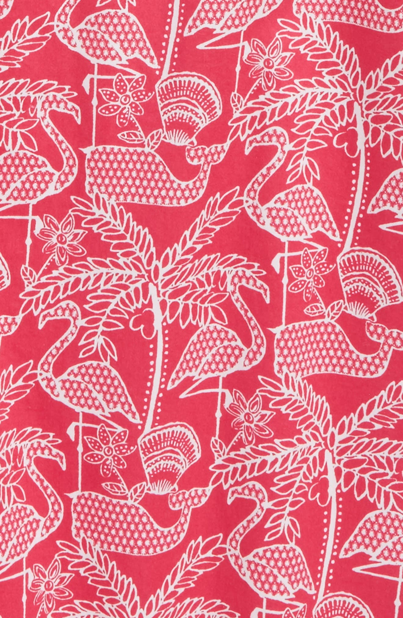 Flamingo Print Shift Dress,                             Alternate thumbnail 3, color,                             Rhododendron