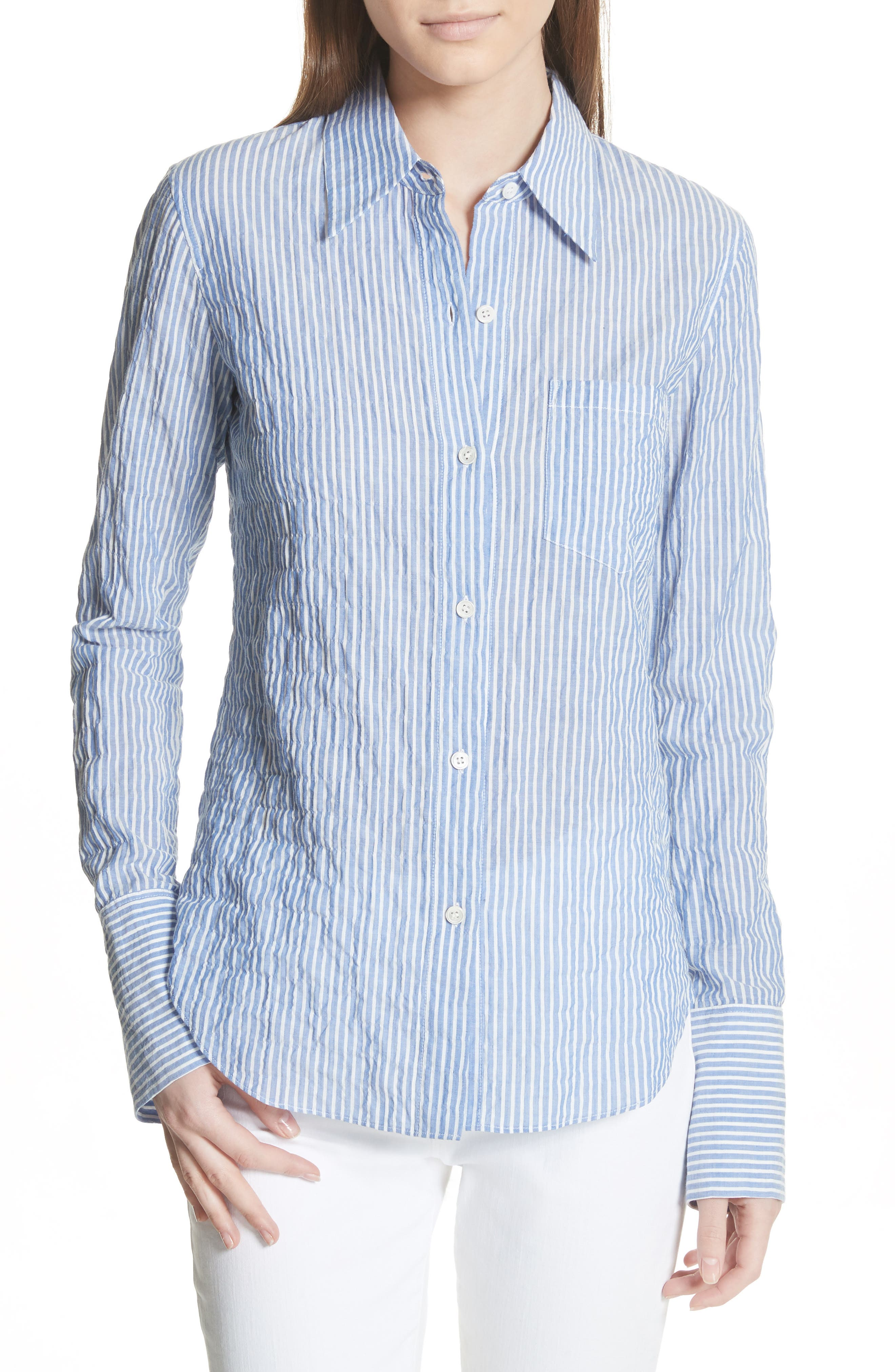 Classic Button Down Shirt,                         Main,                         color, Blue/ White