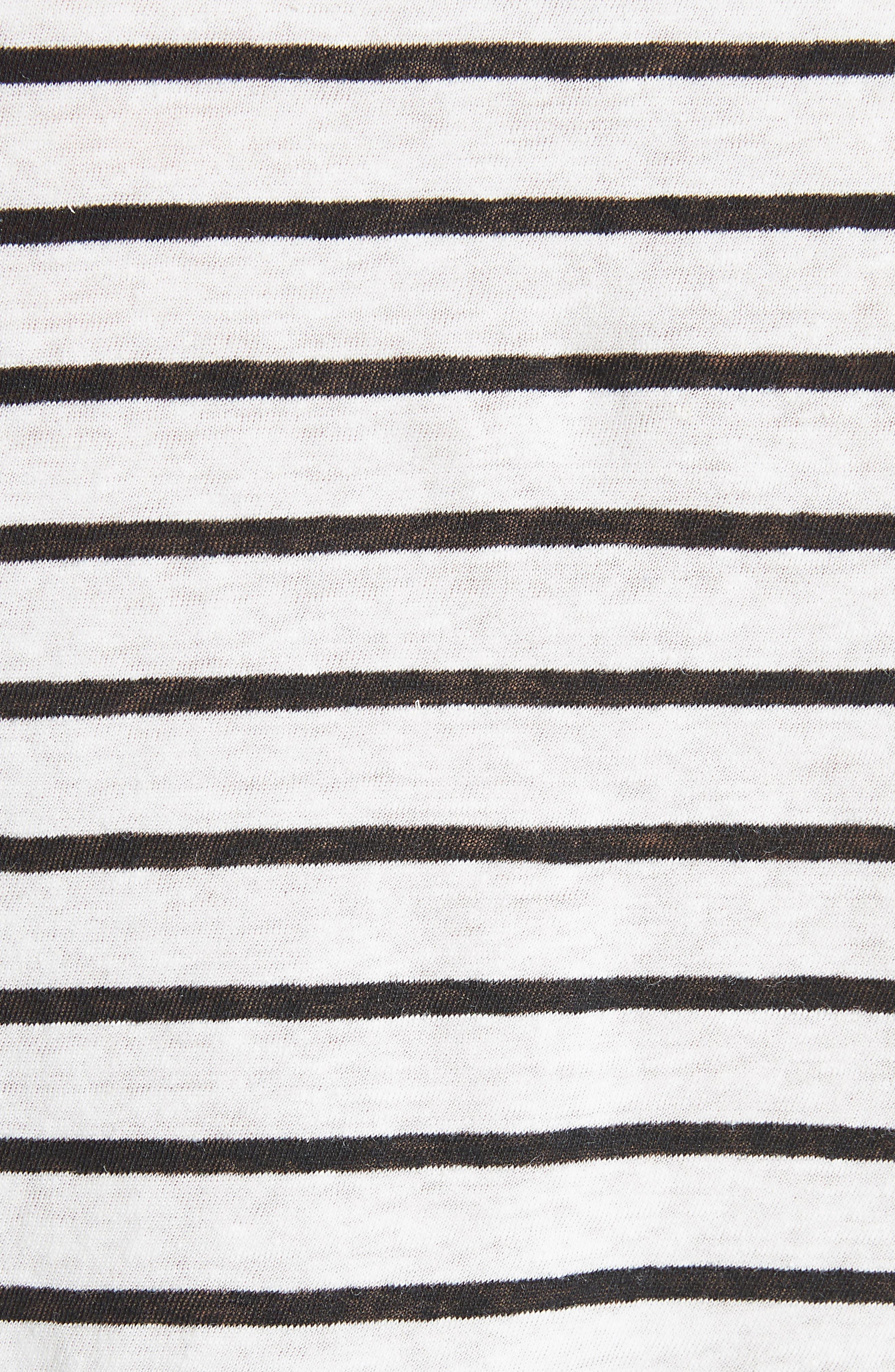 Navigate Stripe Linen Cotton Tee,                             Alternate thumbnail 5, color,                             White/ Black