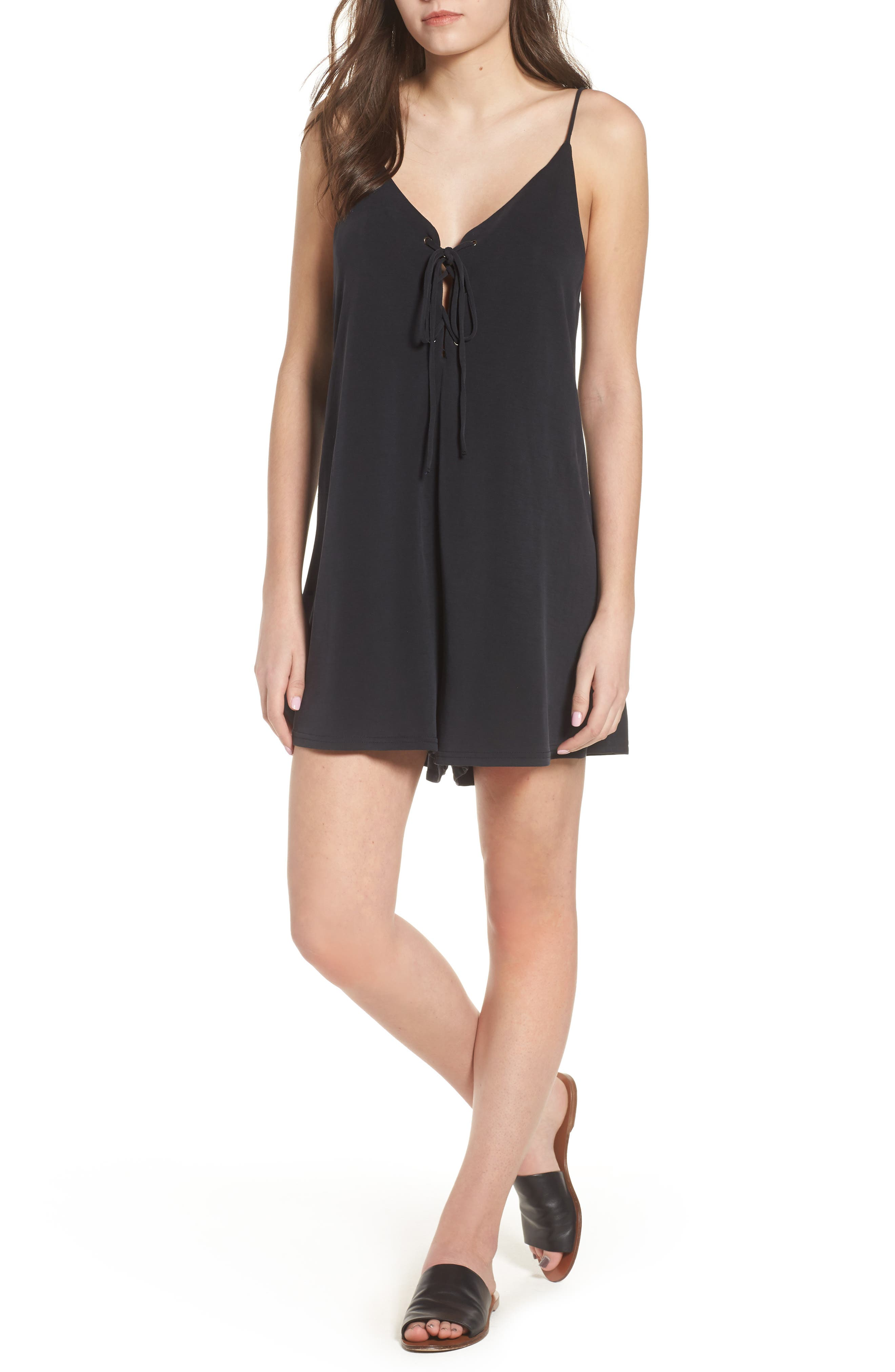Lira Clothing Play for Keeps Lace-Up Romper