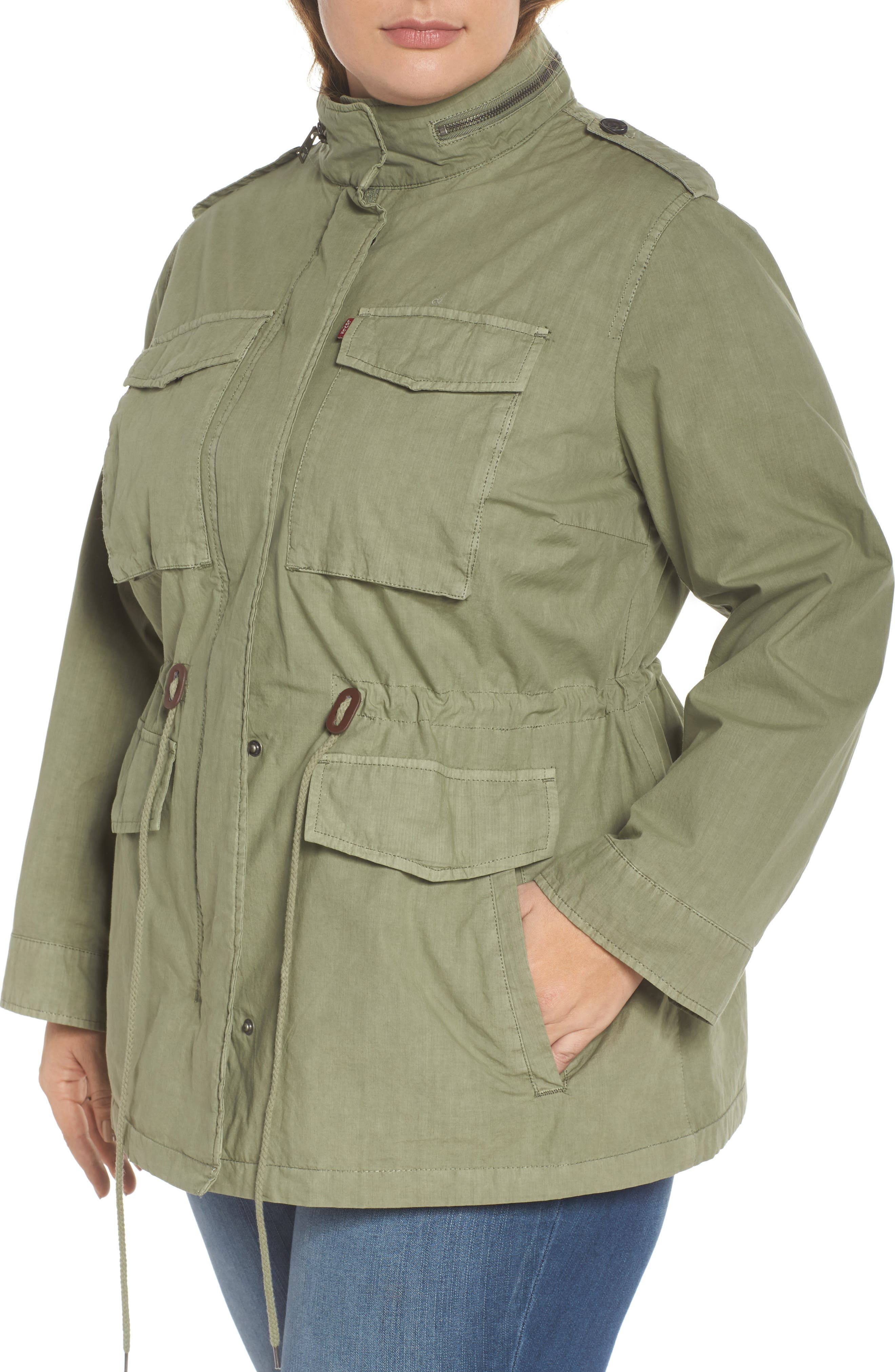 Cotton Military Jacket,                             Alternate thumbnail 4, color,                             Light Green