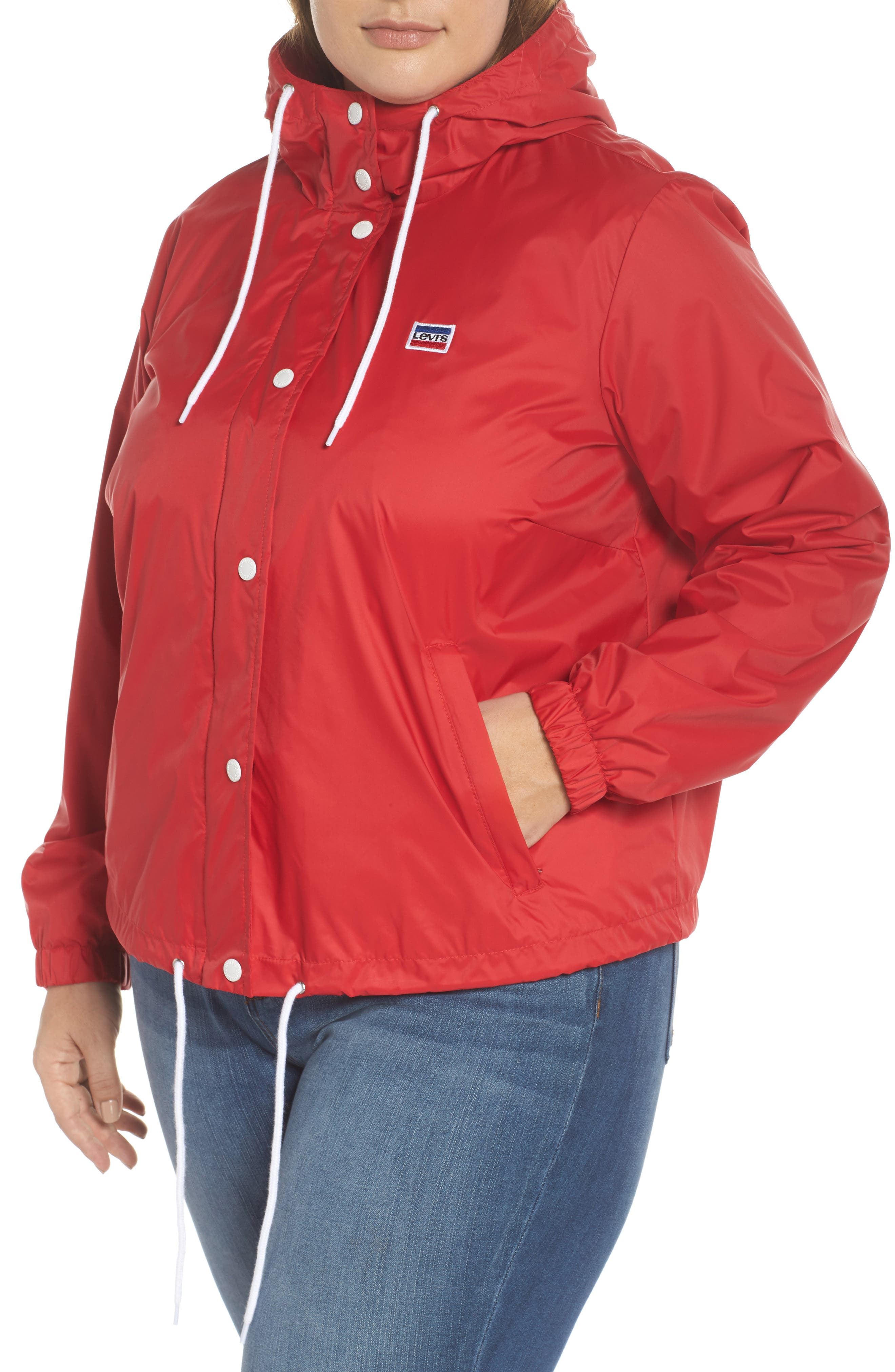Retro Hooded Coach's Jacket,                             Alternate thumbnail 4, color,                             Red