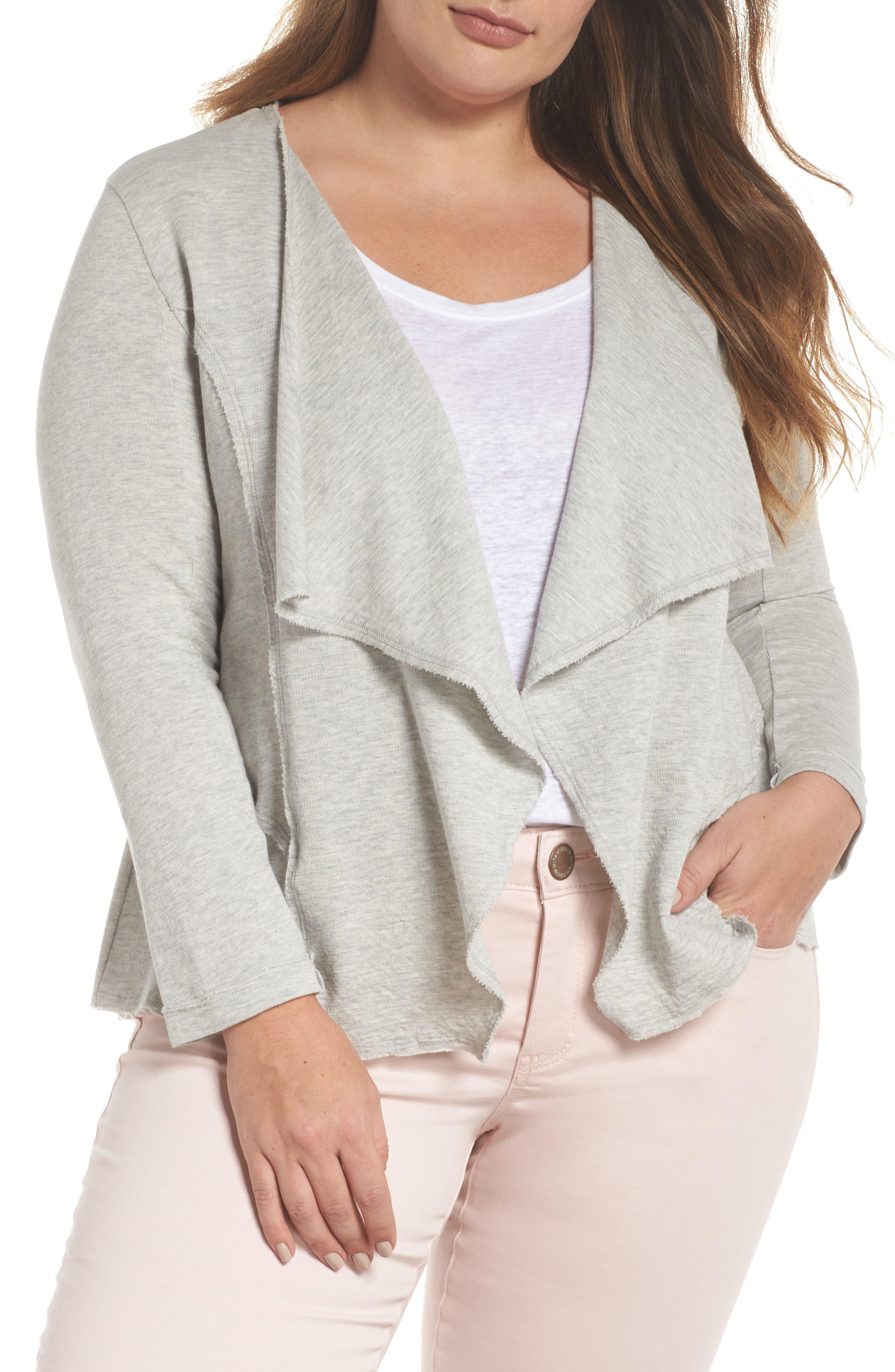 Main Image - Caslon® Knit Drape Jacket (Plus Size)