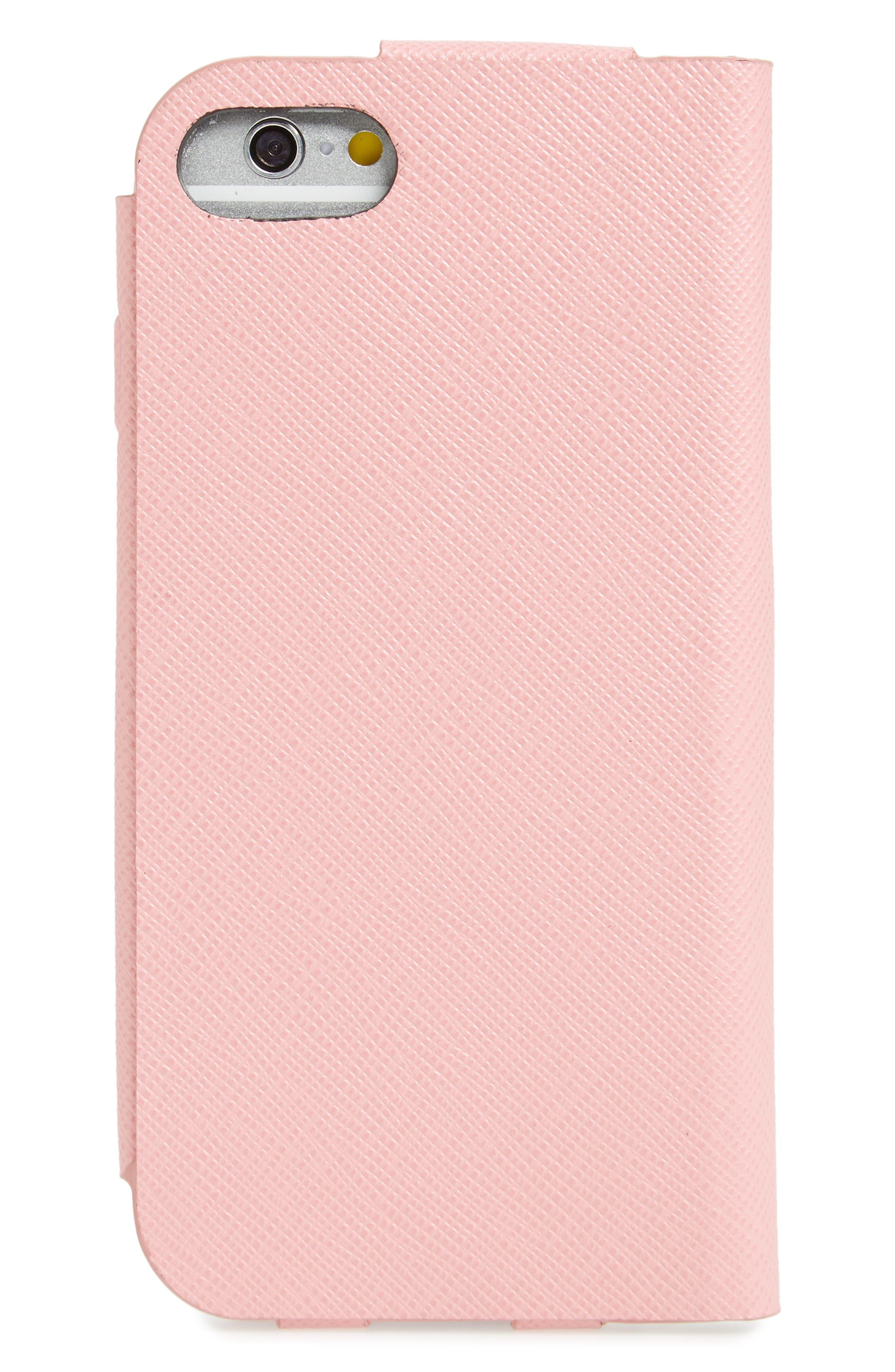 Oro Saffiano Leather iPhone 7 Folio,                             Alternate thumbnail 2, color,                             Petalo
