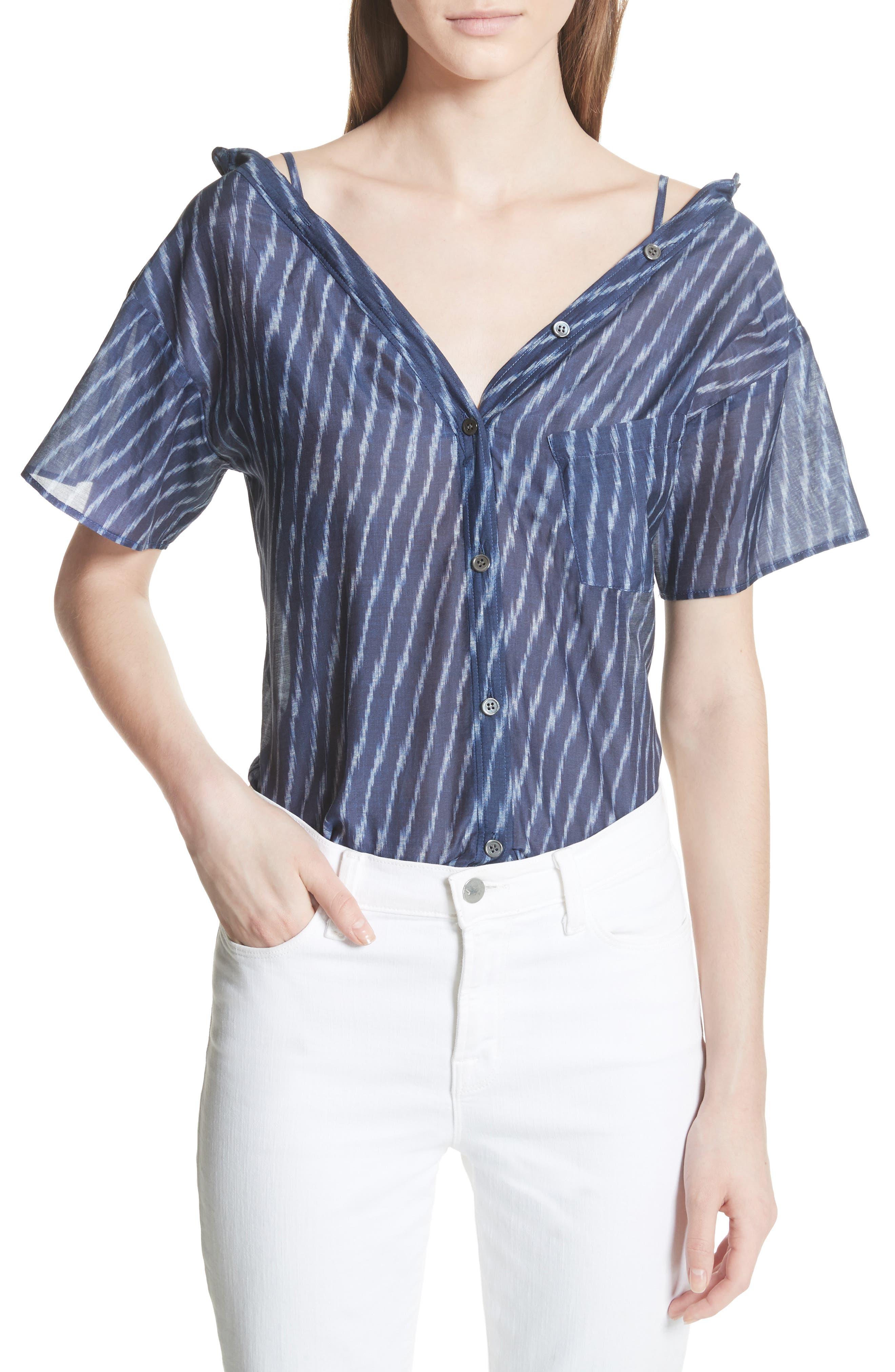Modified Cold Shoulder Cotton Lawn Blouse,                             Main thumbnail 1, color,                             Blue Multi