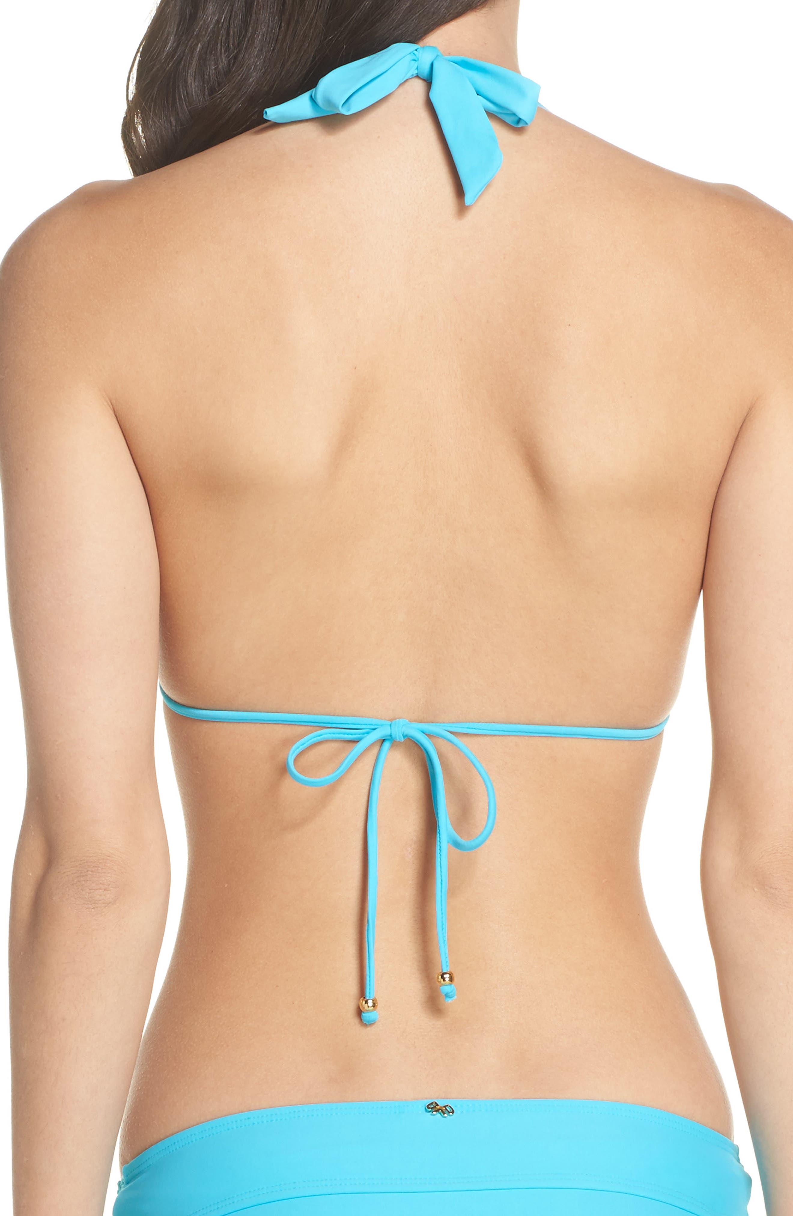 Lace Halter Bikini Top,                             Alternate thumbnail 2, color,                             Marine
