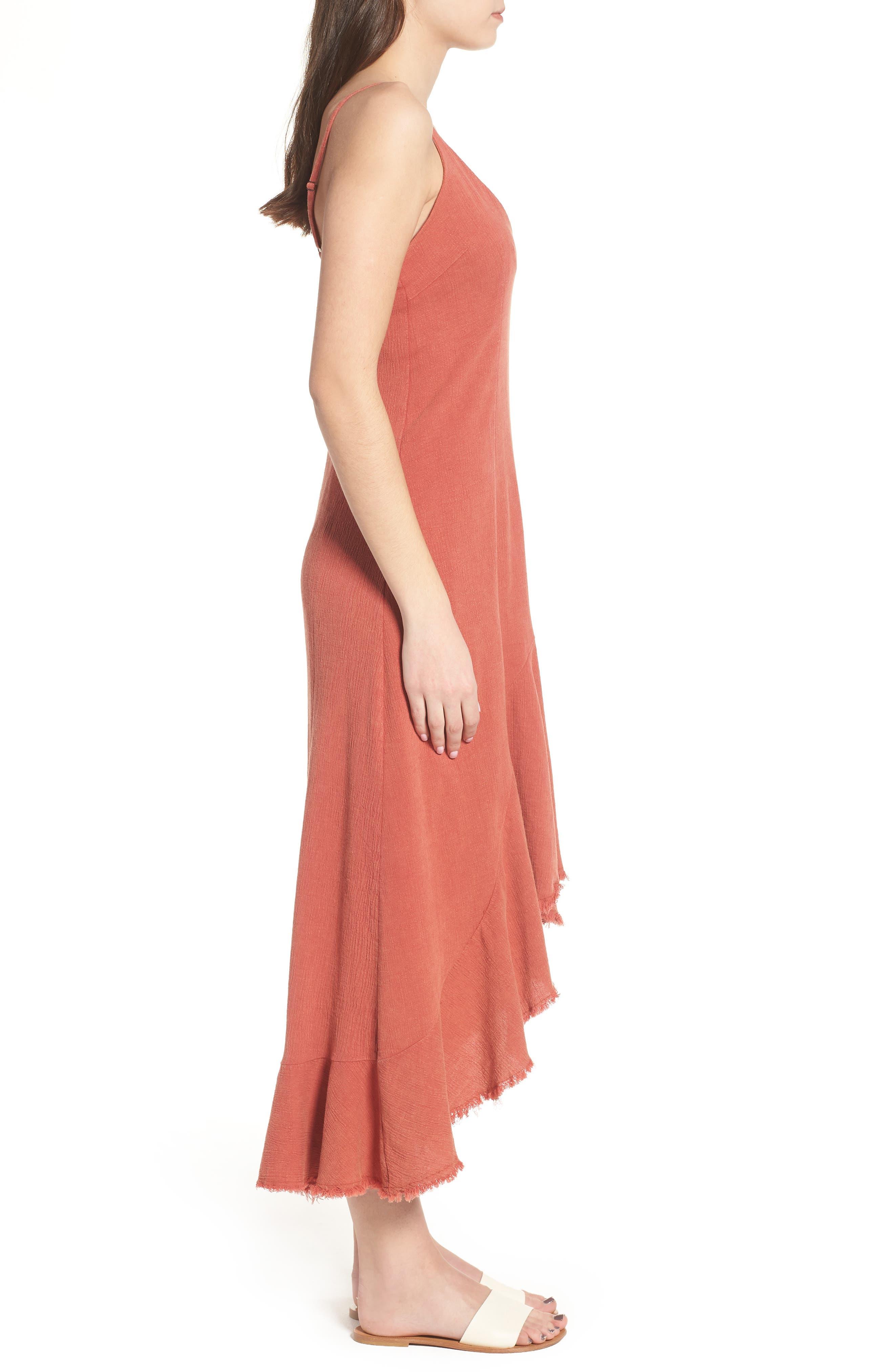 Meet Me in Dreams Flutter Hem Dress,                             Alternate thumbnail 4, color,                             Burnt Orange
