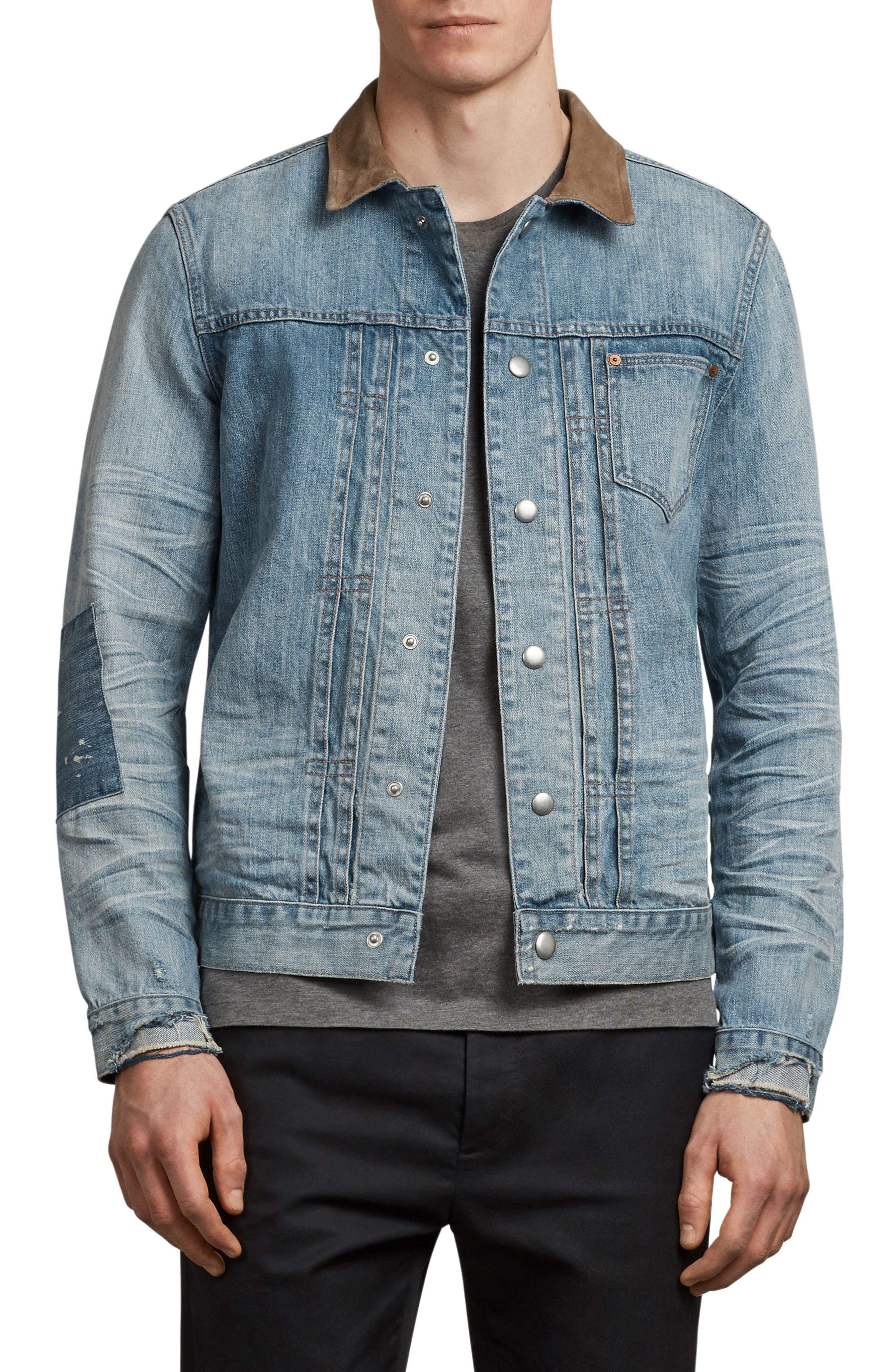 Ibanex Slim Fit Distressed Denim Jacket,                             Main thumbnail 1, color,                             Indigo