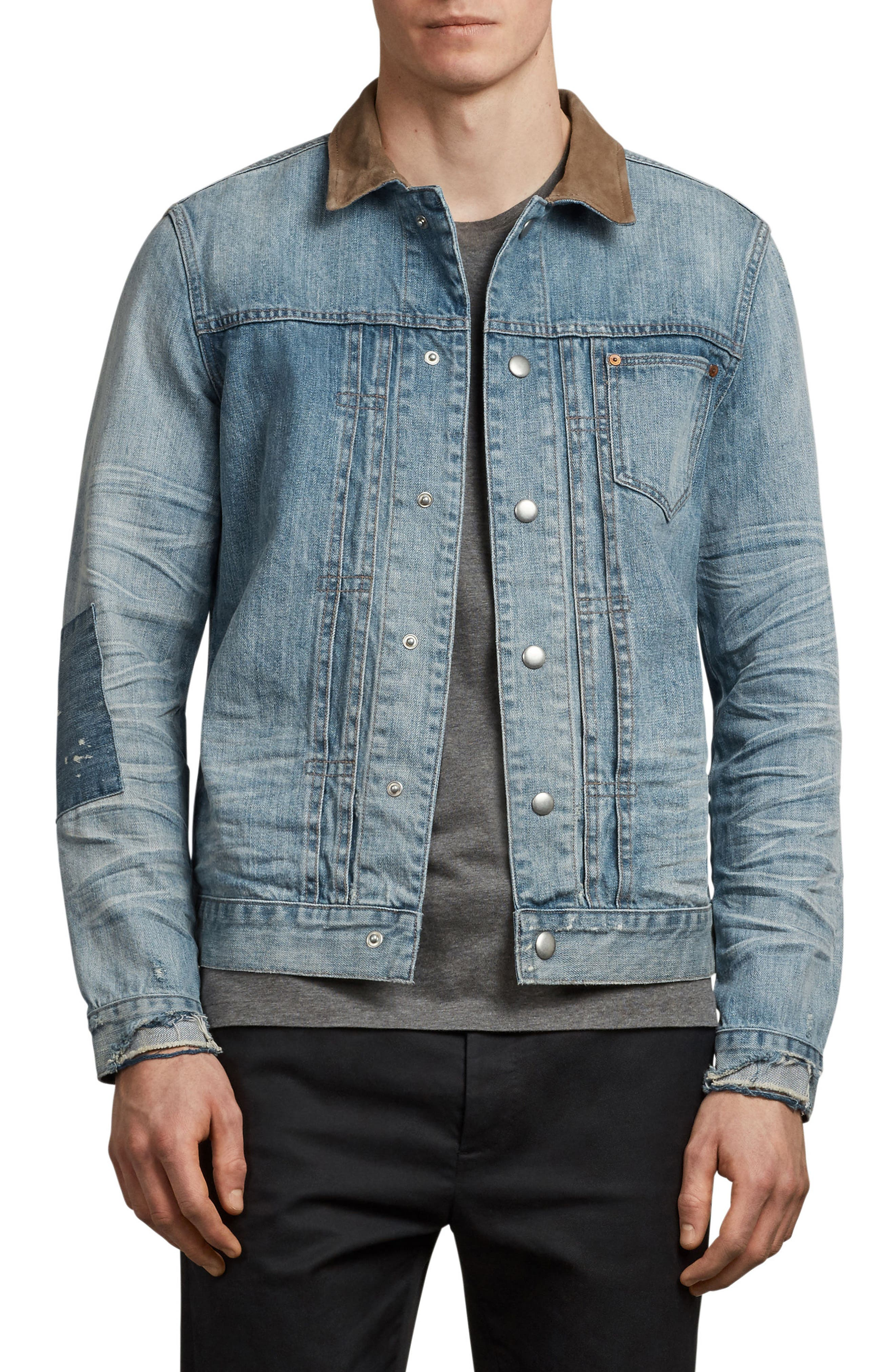 Ibanex Slim Fit Distressed Denim Jacket,                         Main,                         color, Indigo