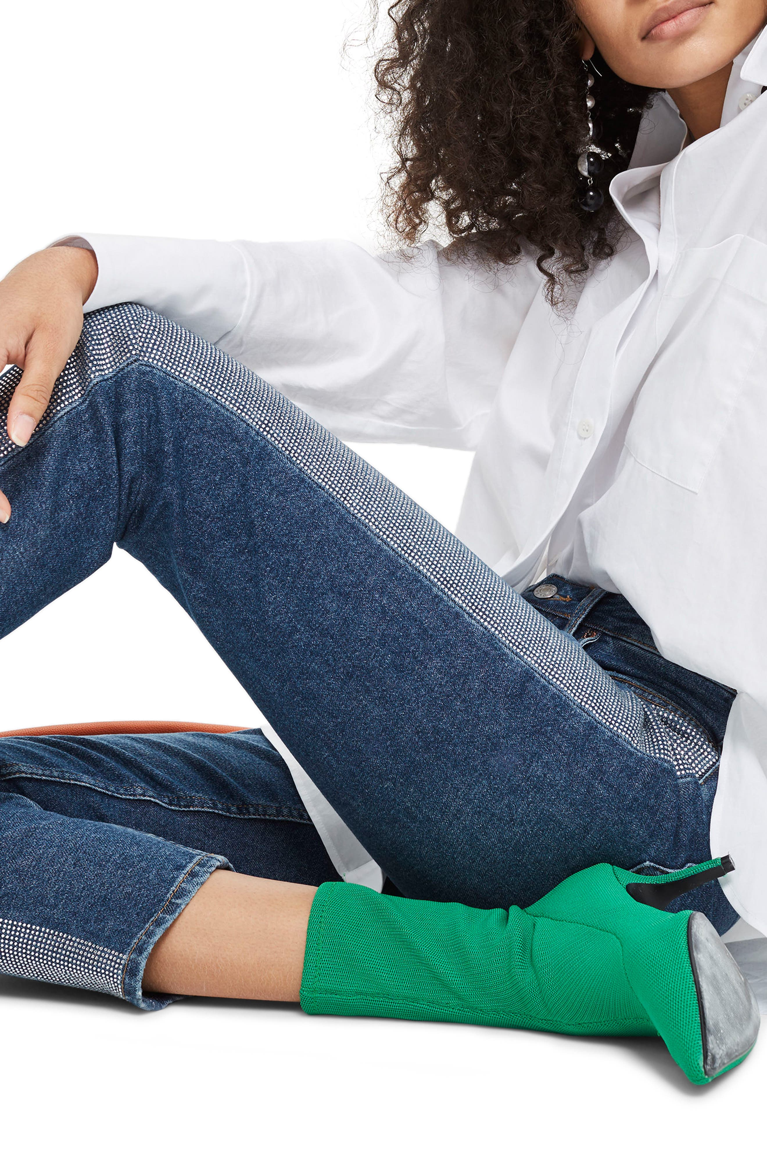 Diamante Stripe Straight Leg Jeans,                             Alternate thumbnail 4, color,                             Mid Denim