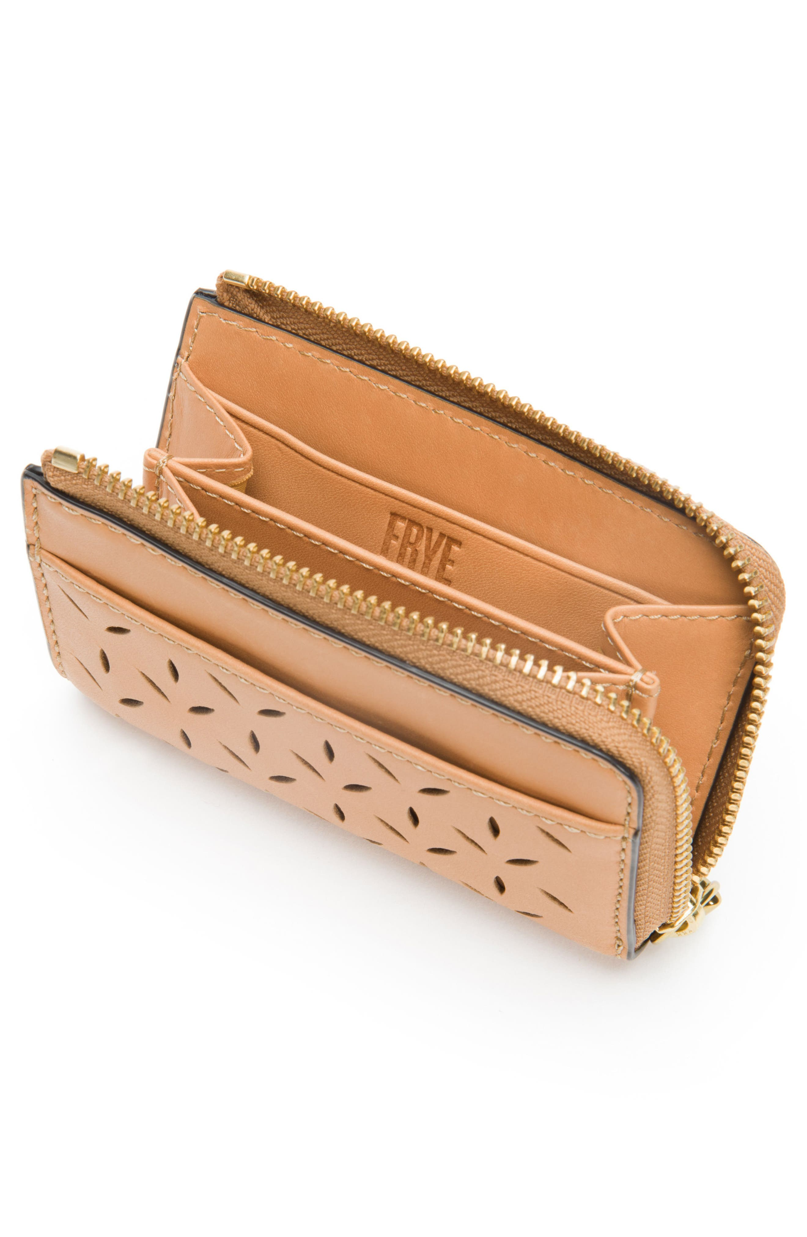 Ilana Small Perforated Leather Zip Wallet,                             Alternate thumbnail 2, color,                             Light Tan
