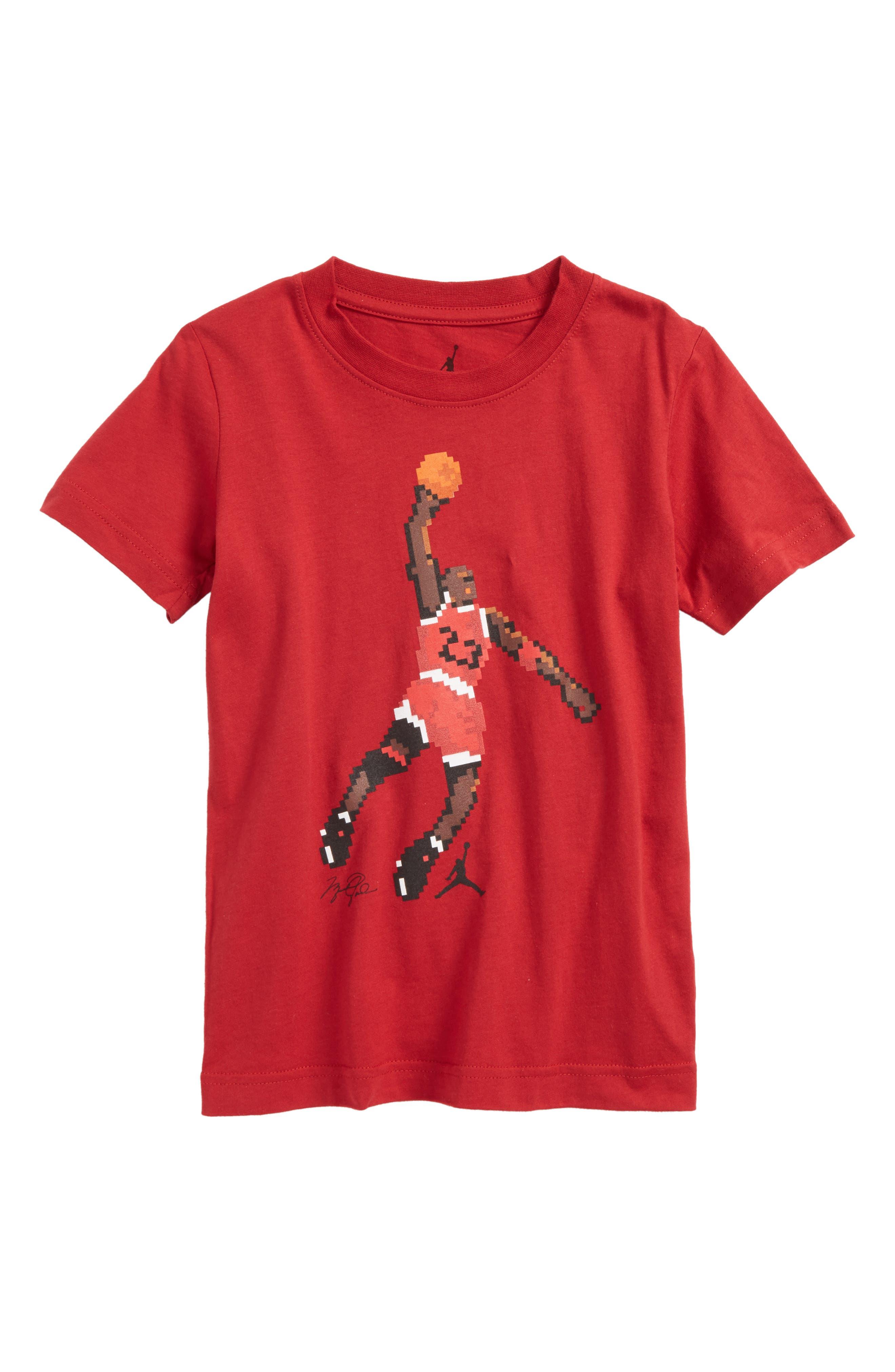 Jordan Pixel Pack AJ Dunk T-Shirt,                         Main,                         color, Gym Red