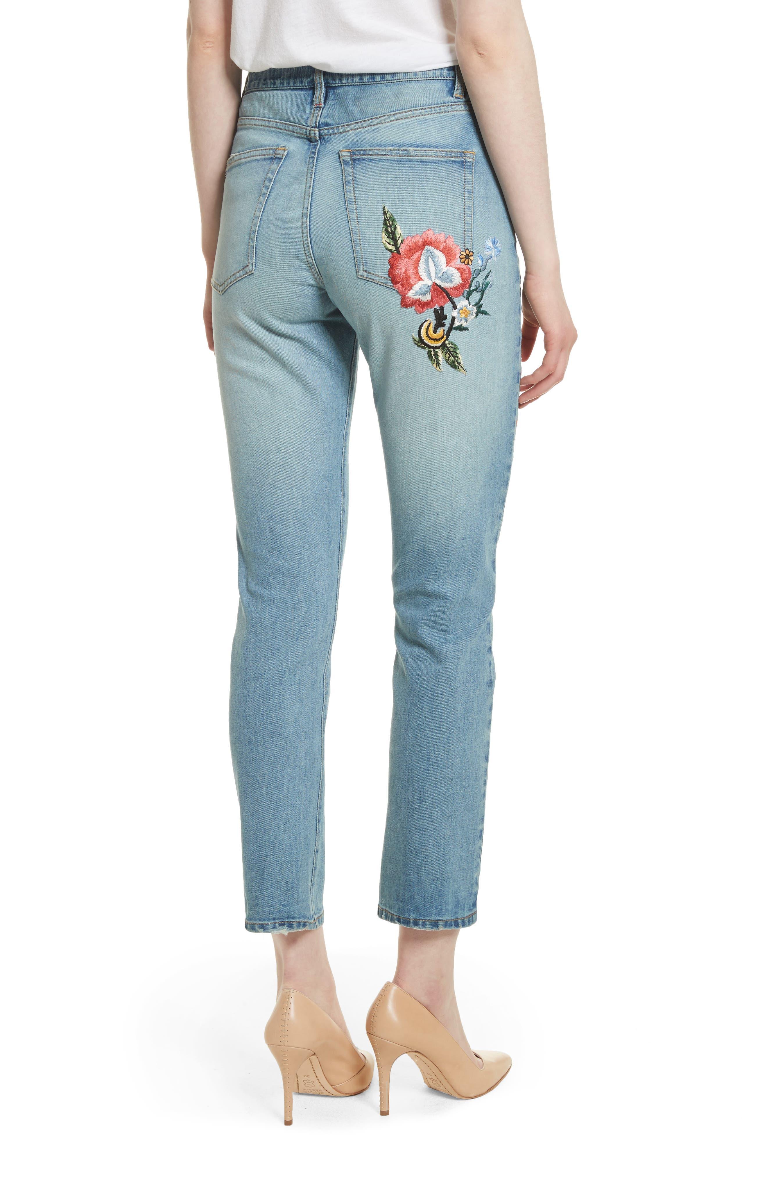 AO.LA Amazing Embroidered Slim Crop Jeans,                             Alternate thumbnail 2, color,                             Multi