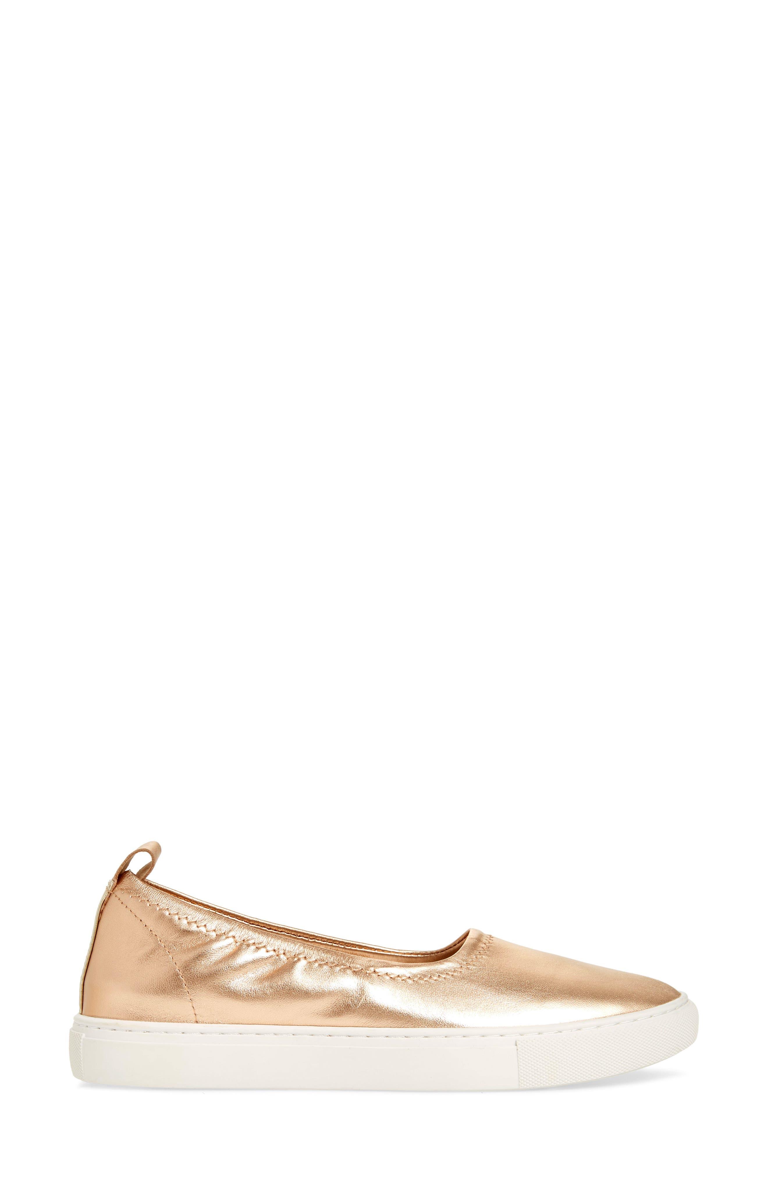 Kam Techni-Cole Ballet Flat,                             Alternate thumbnail 3, color,                             Rose Gold Leather