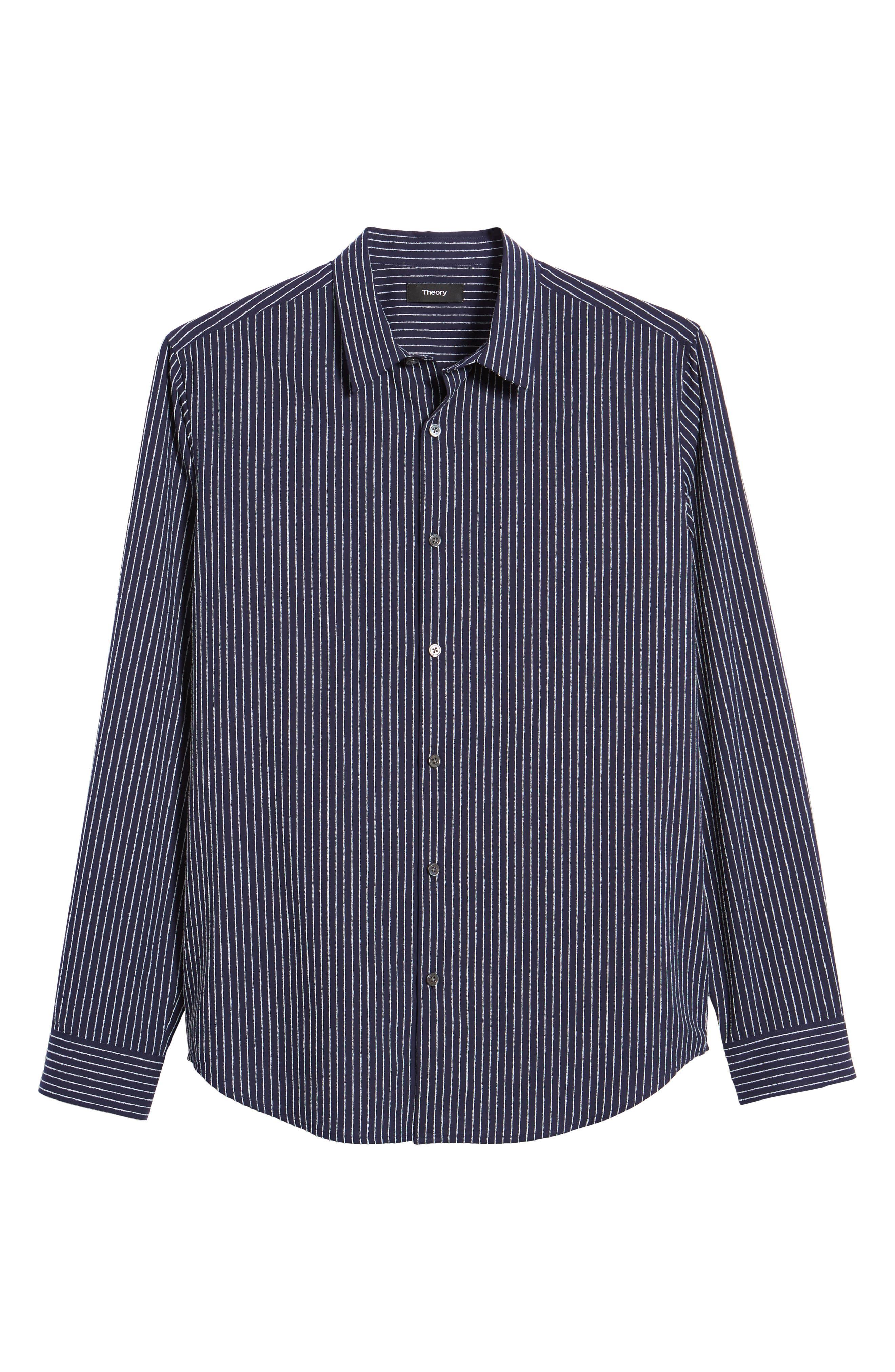 Irving Chenille Stripe Sport Shirt,                             Alternate thumbnail 6, color,                             Eclipse Stripe