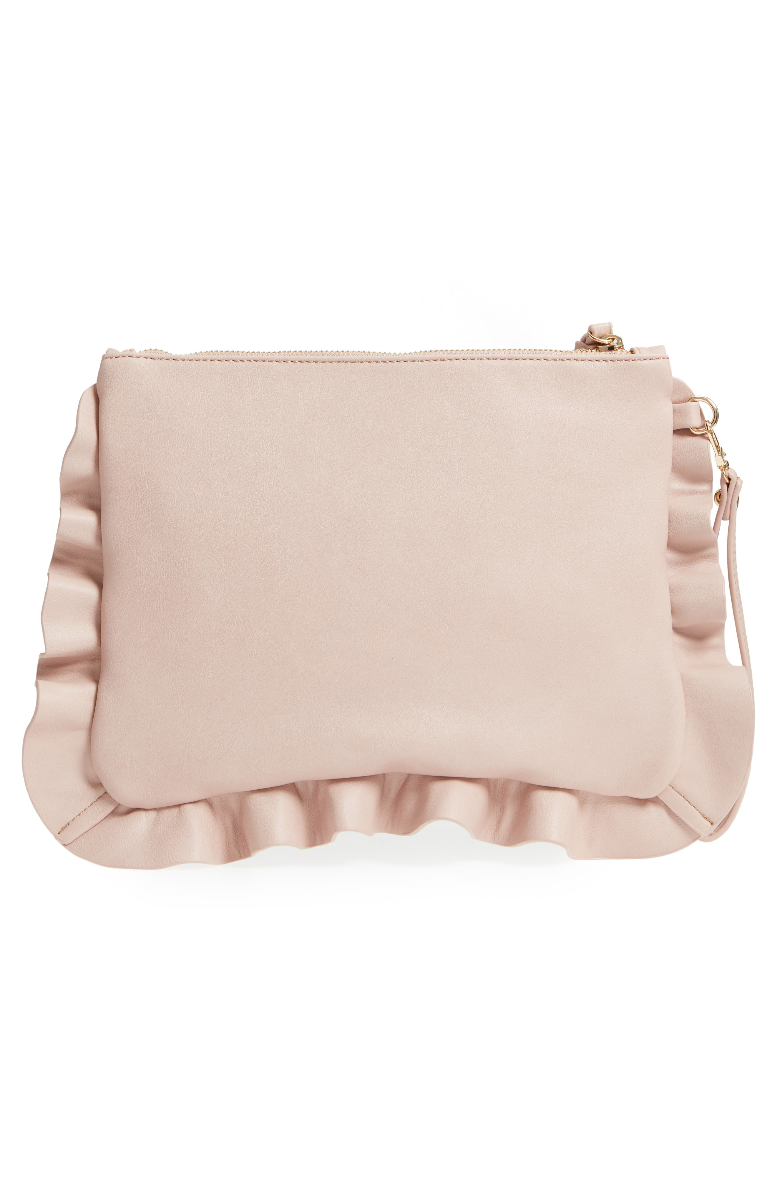 Adelina Faux Leather Ruffle Clutch,                             Alternate thumbnail 3, color,                             Blush