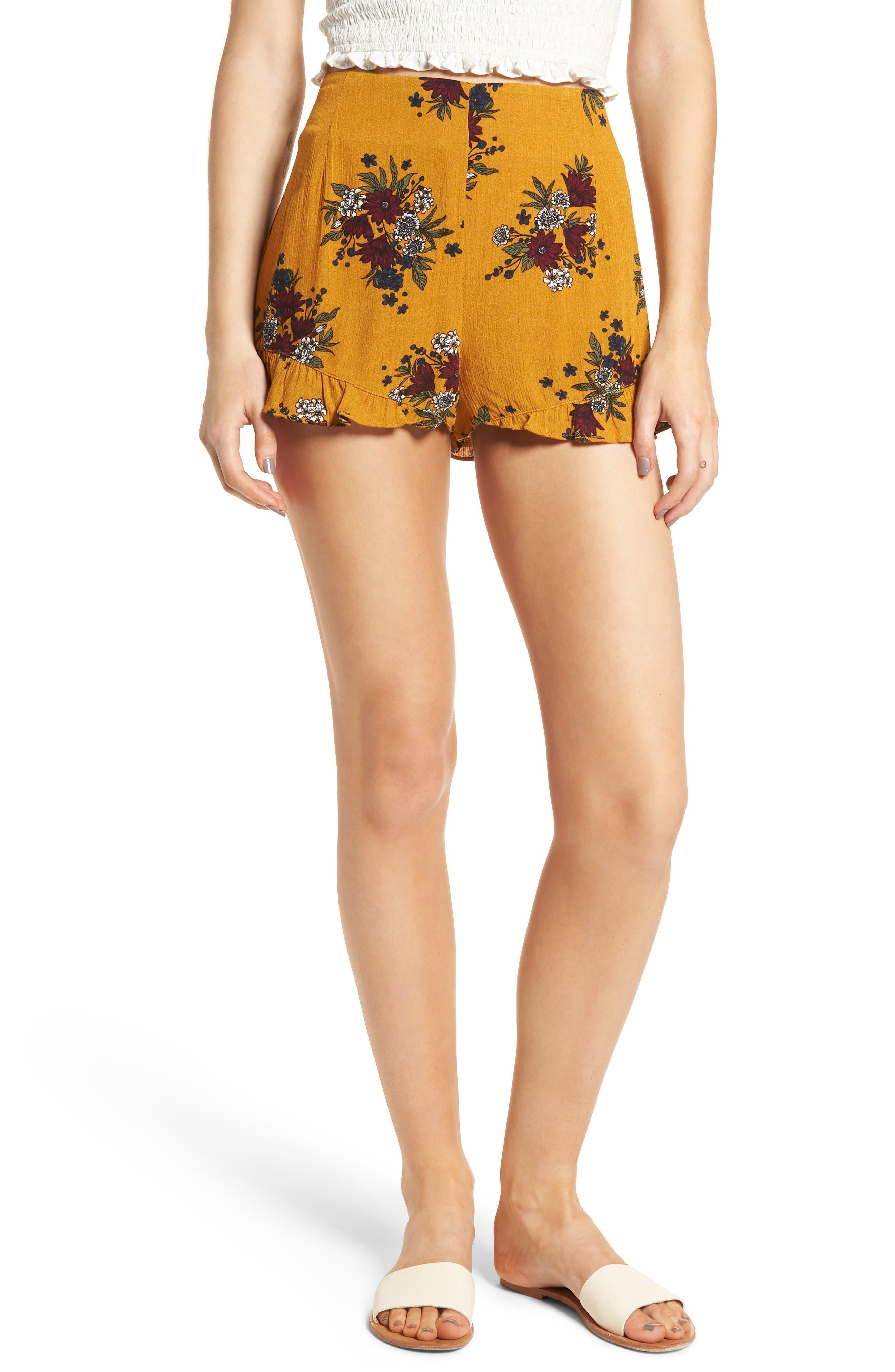 Theia Floral Ruffle Hem Shorts,                             Main thumbnail 1, color,                             Honey